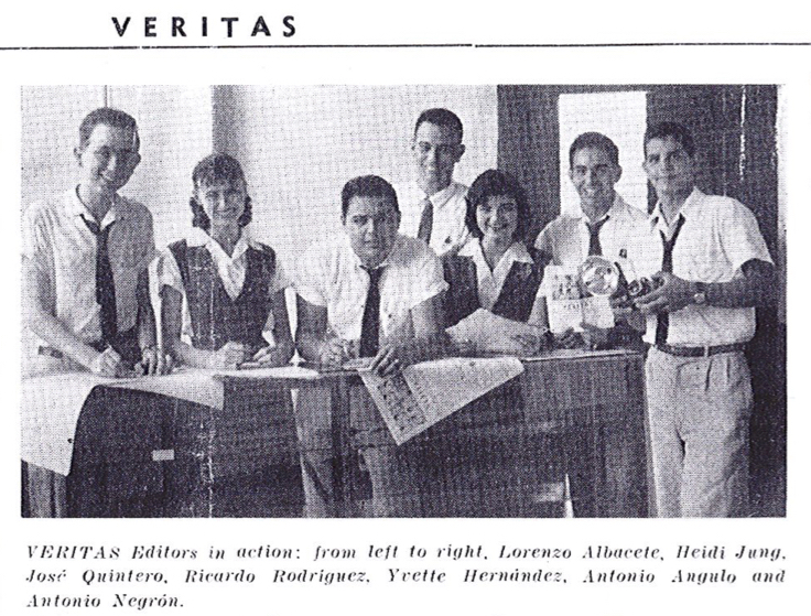 The editorial staff of Veritas, the school paper of Sacred Heart Academy, Santurce, Puerto Rico. Lorenzo Albacete on far left.