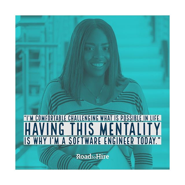 LaShawnda always loved computers but never thought of being an engineer. Through Road to Hire, I realized that I have the skills to do what it takes AND this industry isn't just for men. #softwareengineer #tech #charlottenc #code #womenwhocode