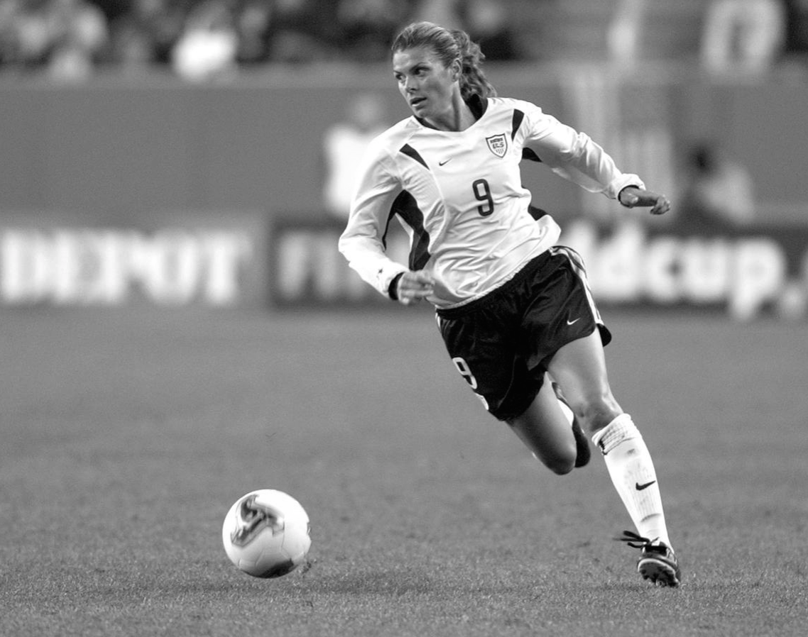 Mia Hamm held the record for most international goals scored—by a woman or man—until 2013 and remains in third place behind former teammate  Abby Wambach  and Canadian striker  Christine Sinclair  as of 2017