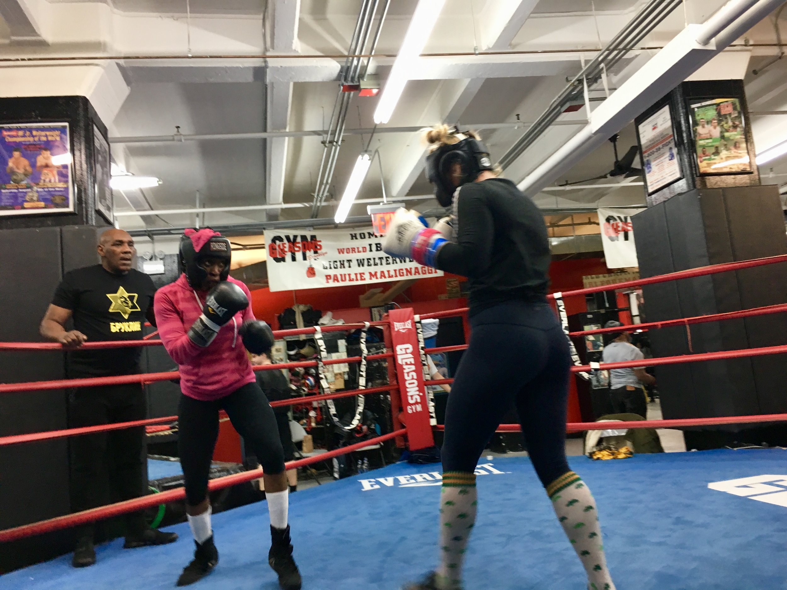 """Ronica """"Queen"""" Jeffrey spars Heather """"The Heat"""" Hardy at Gleason's Gym."""