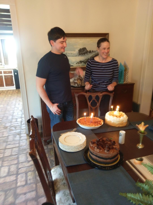 Katherine and her cousin CJ celebrating birthdays.