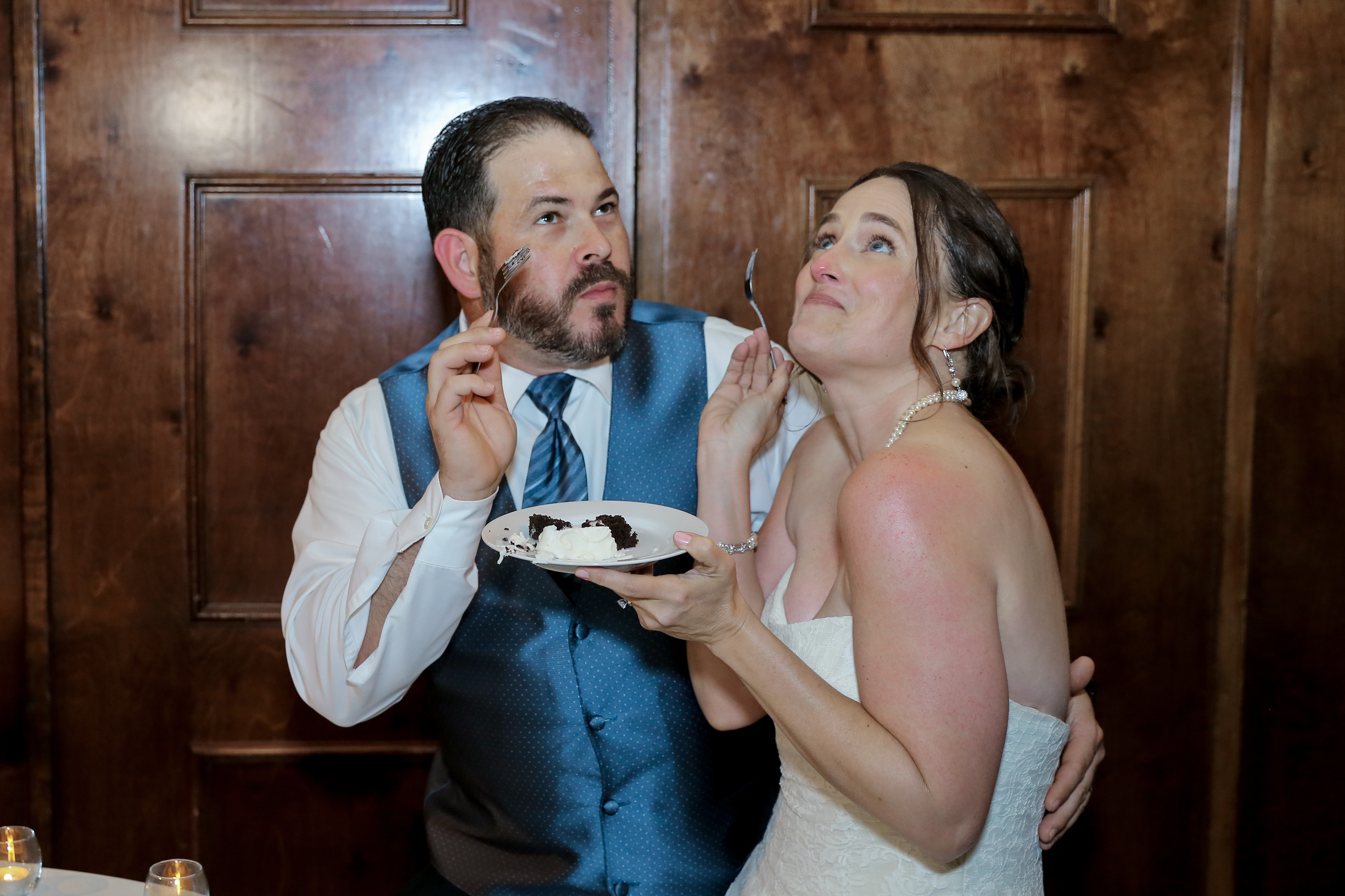 We had such an amazing time at our wedding.  You can tell the cake was really good!
