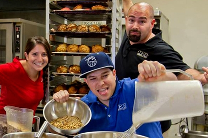"""The Kids,"" Melina, Nathan and Brandon Sippel (left to right) in the bakery kitchen."