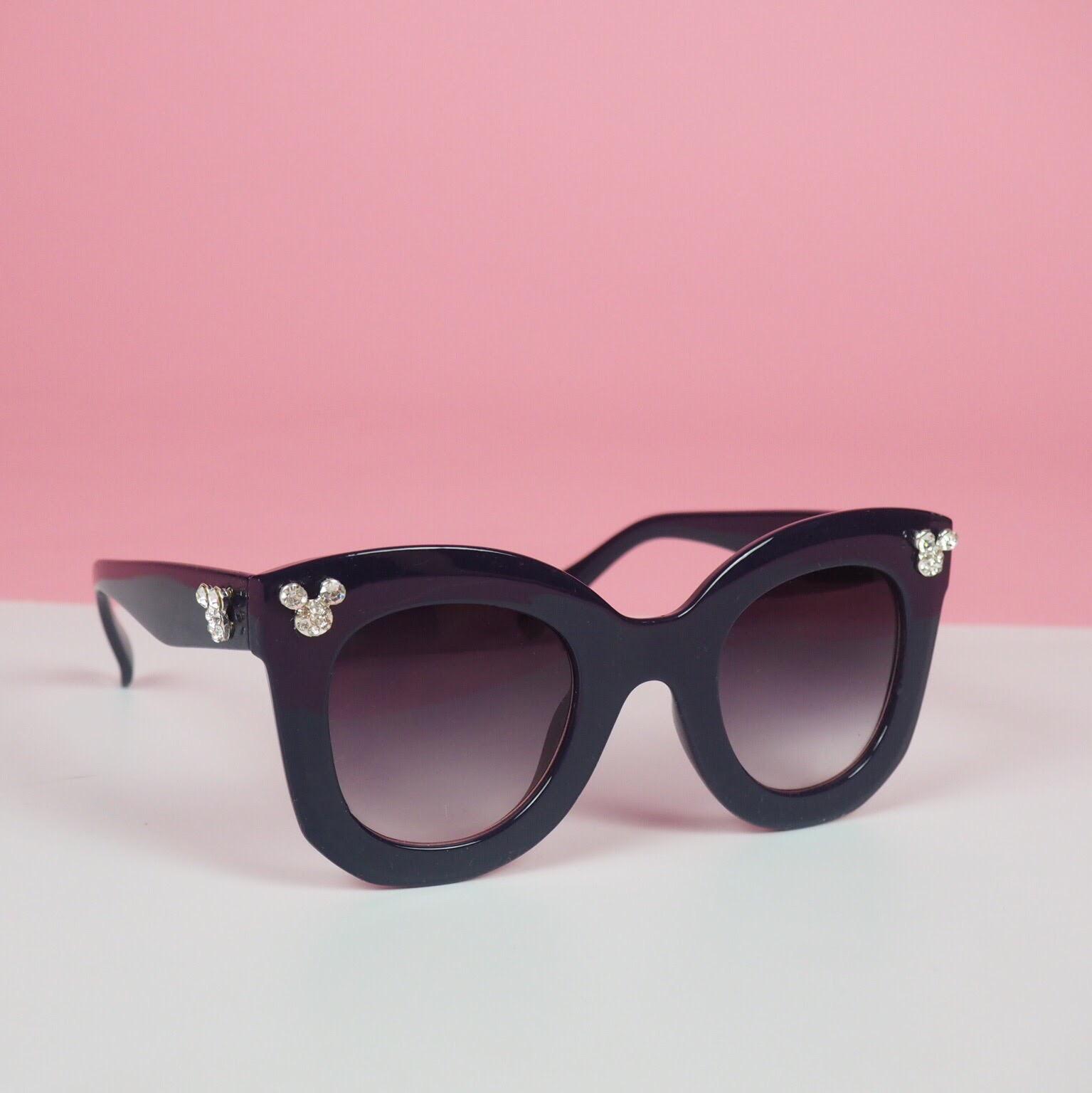 Navy Blue Retro Mickey Rhinestone Sunglasses