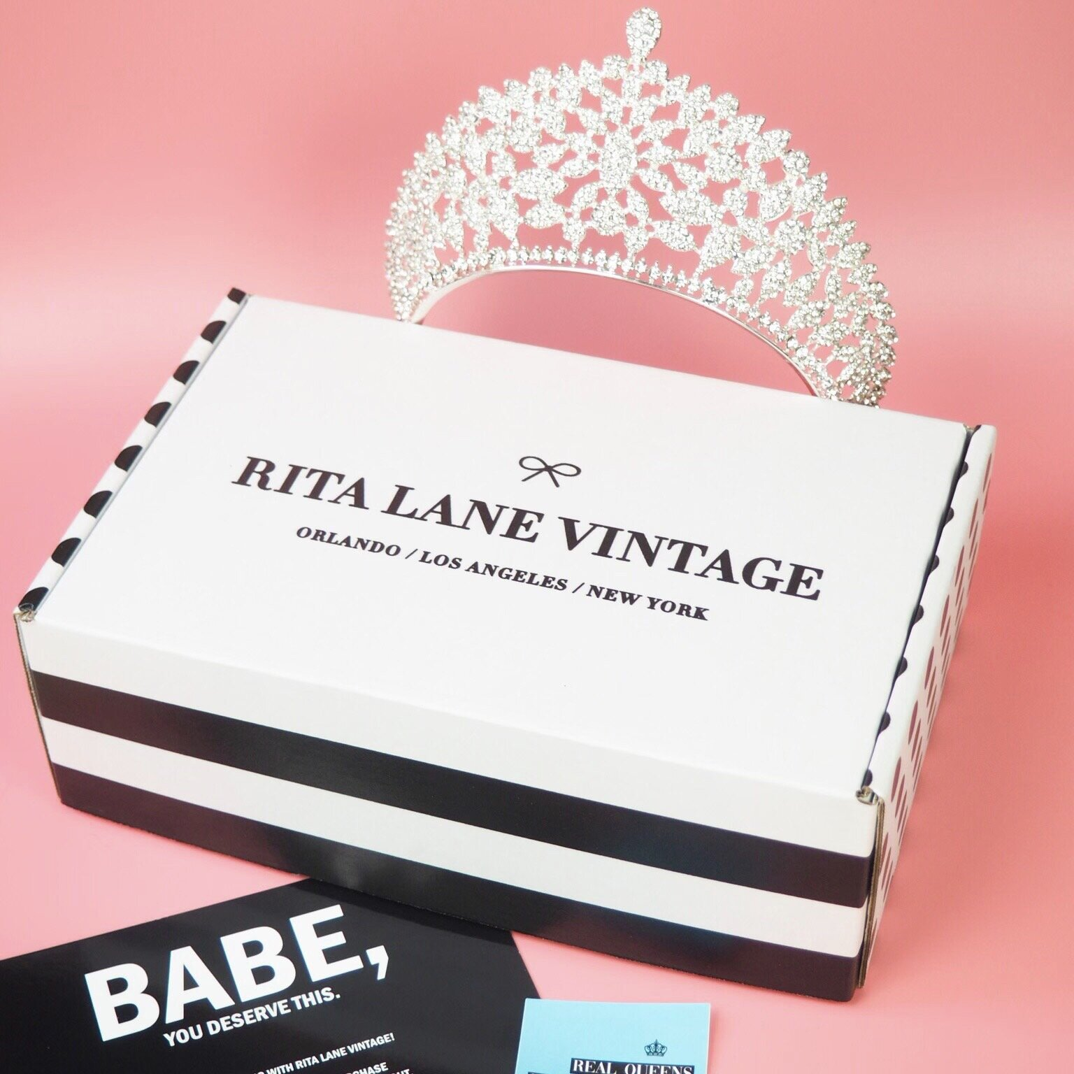 Shipping worldwide in our client-favorite Rita Lane Vintage Tiara Box. - Not sure where to store your fabulous tiara or how to package it for a loved one? Keep it safe and super chic in our Rita Lane Vintage Tiara Box.