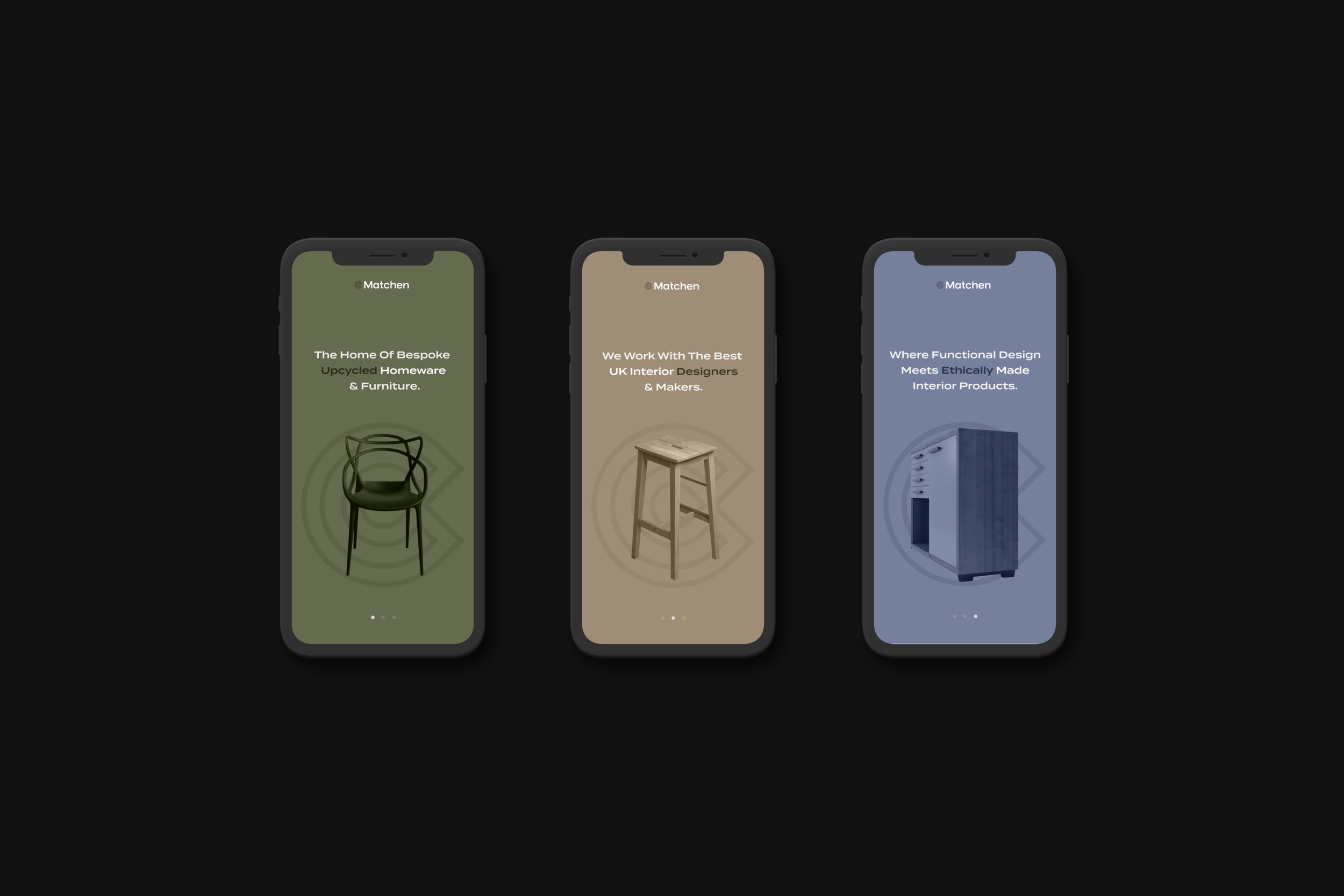 Mobile app UI design (in pastel green, brown and blue) for Matchen – Premium Upcycled Furniture Brand by Kara Vicca
