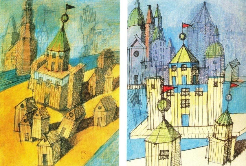Tekeningen door architect Aldo Rossi