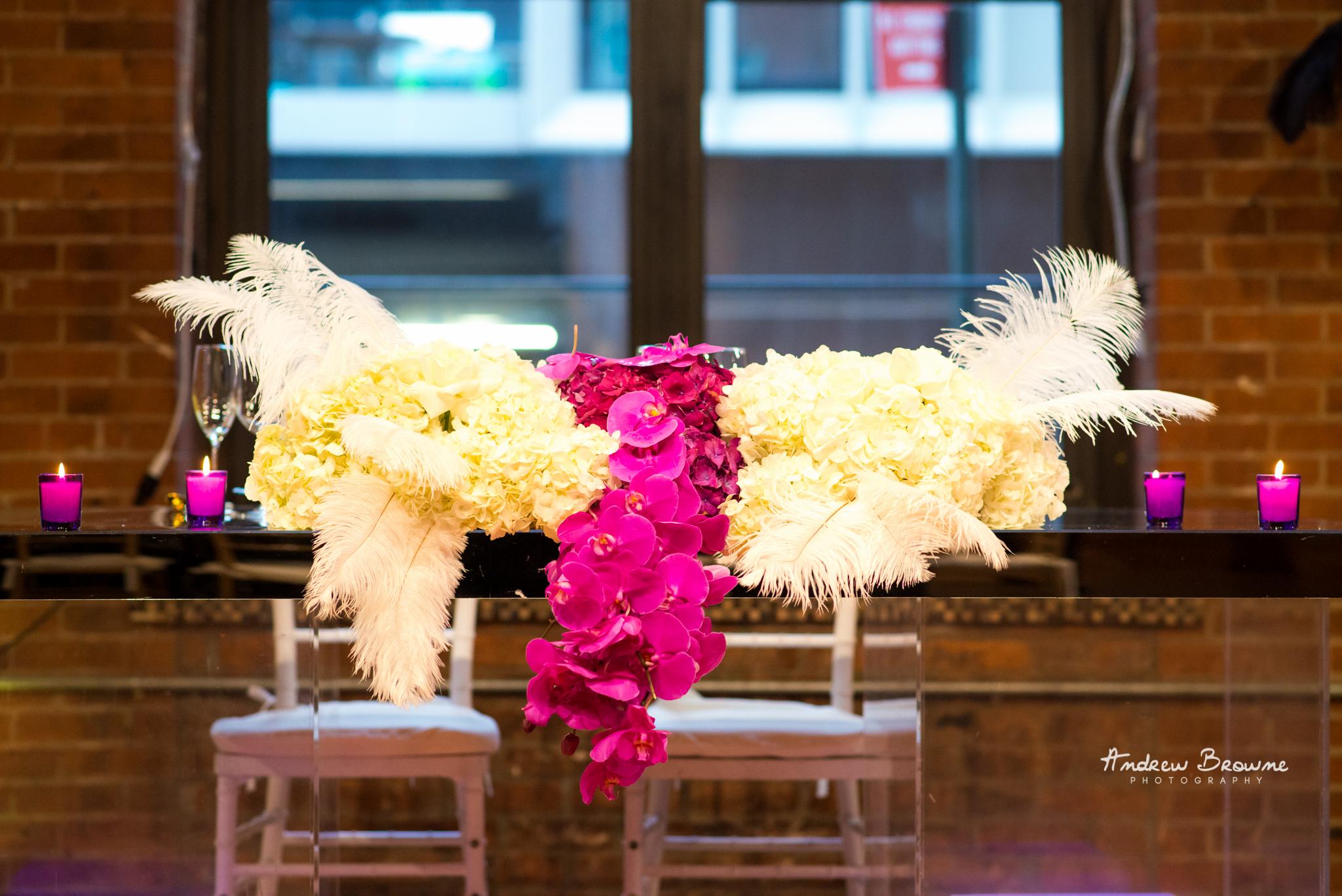 Harlem Renaissance Brooklyn Loft Wedding Flowers Sweet Heart Table.jpg