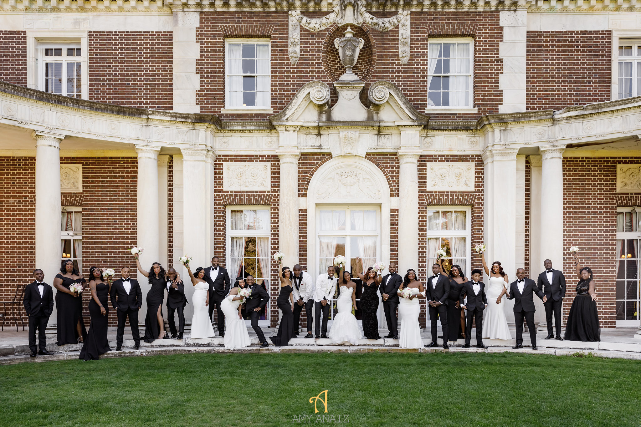 NYIT de Serversky Mansion Wedding, Wedding Party, Bridal Party, White Runway Gown, Black Tux.JPG