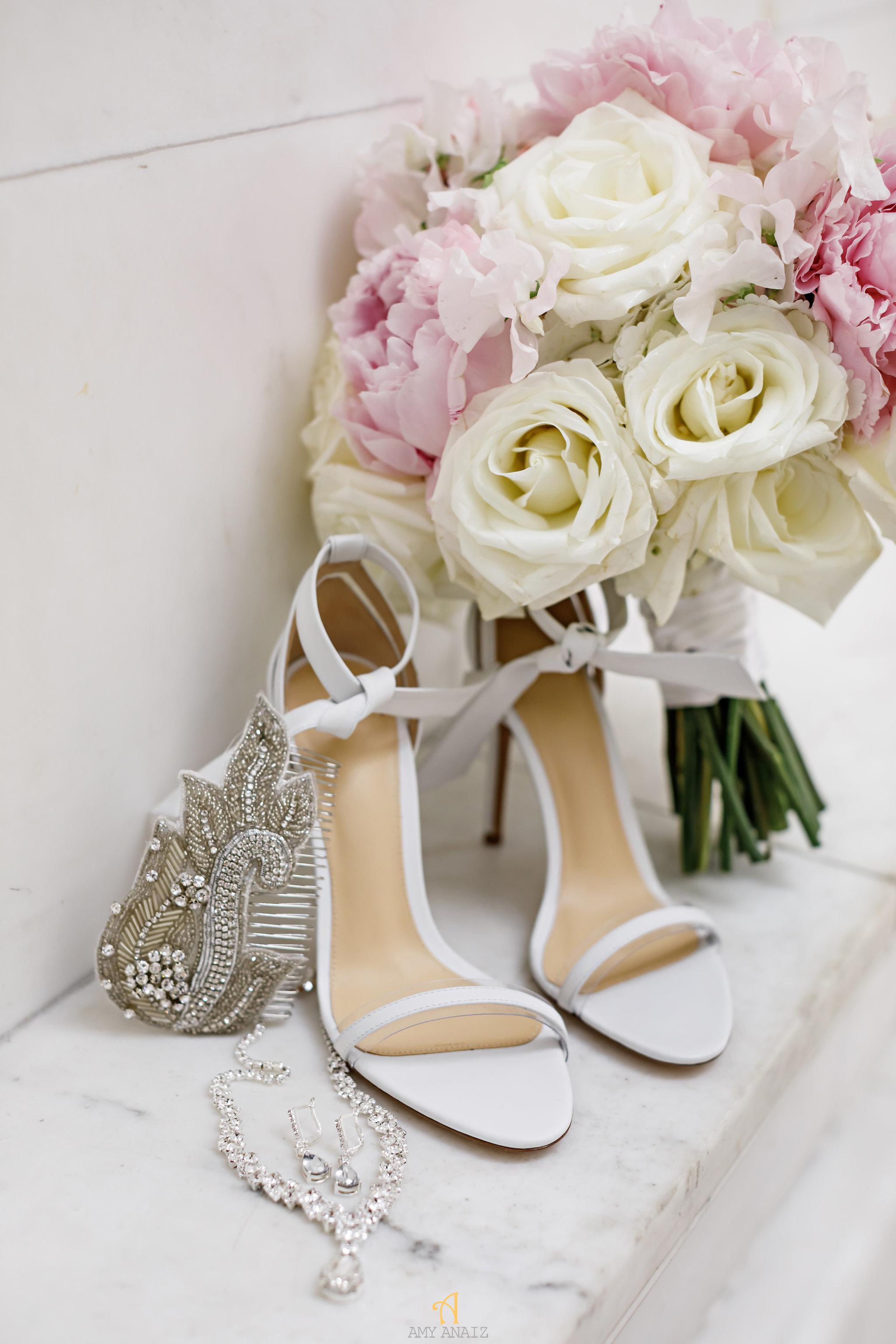 NYIT de Serversky Mansion Wedding, Wedding Shoes, Wedding Bouquet.JPG