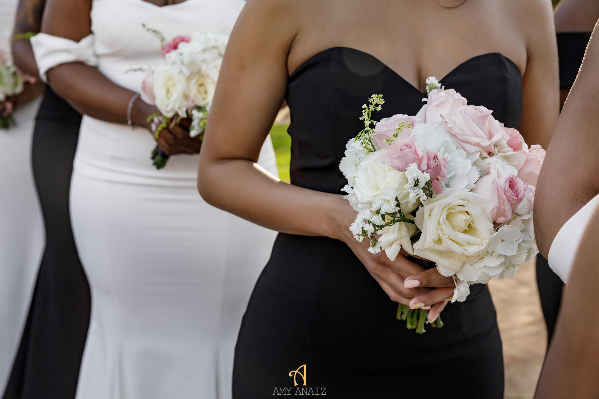 NYIT de Serversky Mansion, Bridesmaids Bouquet, White Runway Dress.JPG