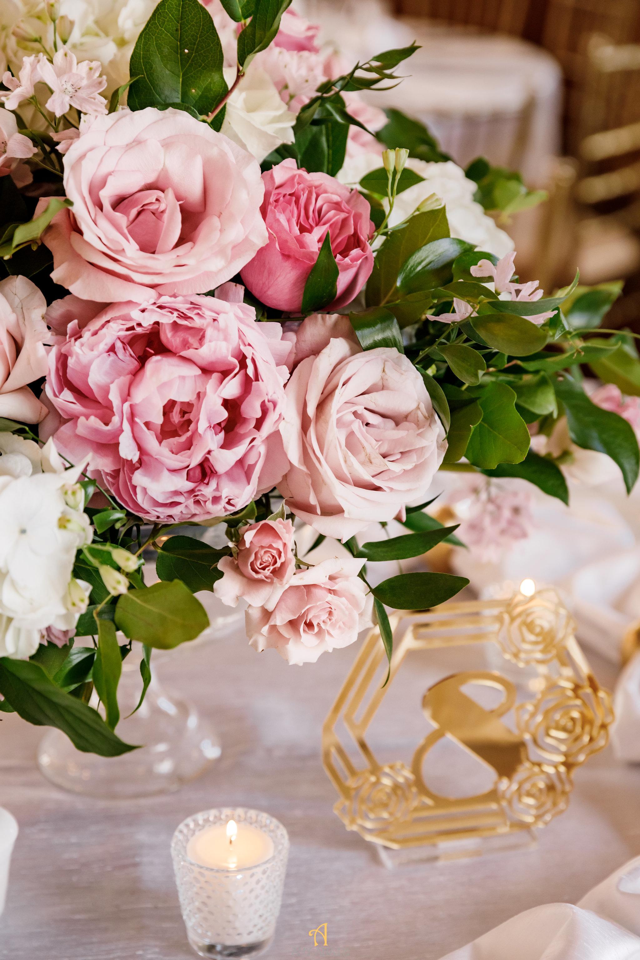 NYIT de Serversky Mansion, Wedding Reception, Gold Table Numbers, Blush Wedding Flowers.JPG