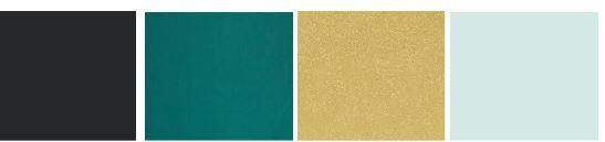 Charcoal  -  Deep Emerald - Light Gold - Seafoam Mist