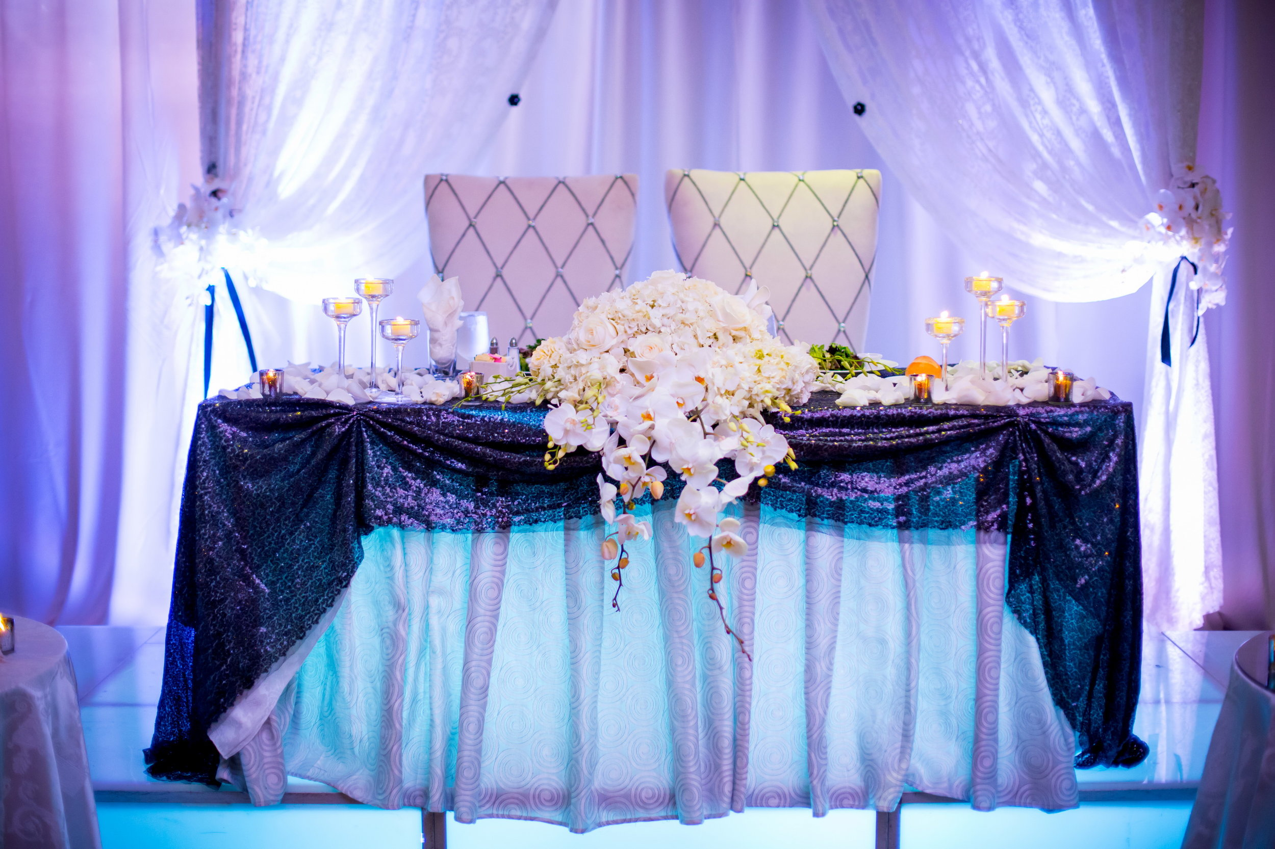 Black and White Wedding Sweetheart Table at Cresthollow Country Club