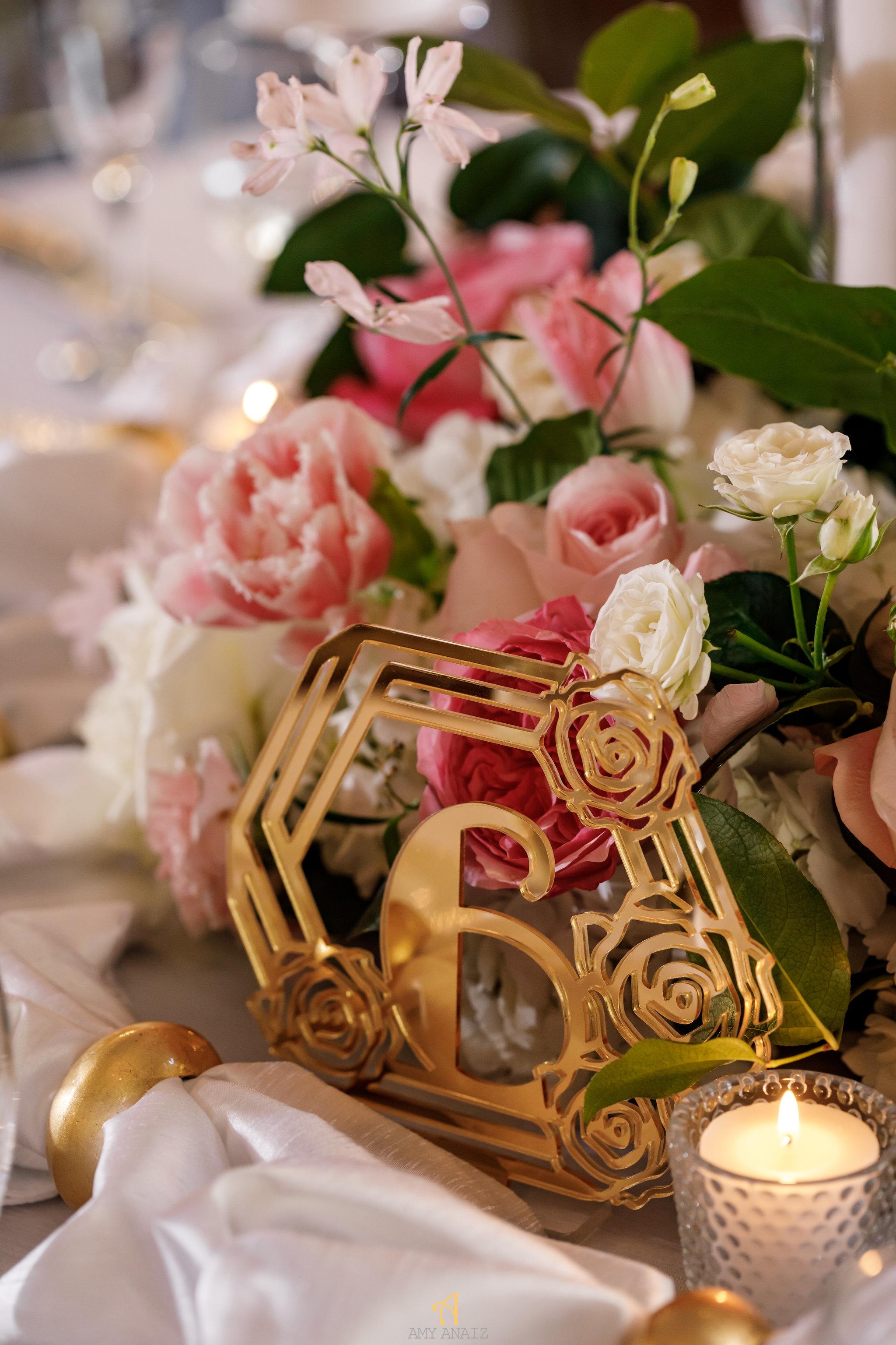 NYIT de Serversky Mansion, Gold Table Number, Long Island Wedding.JPG