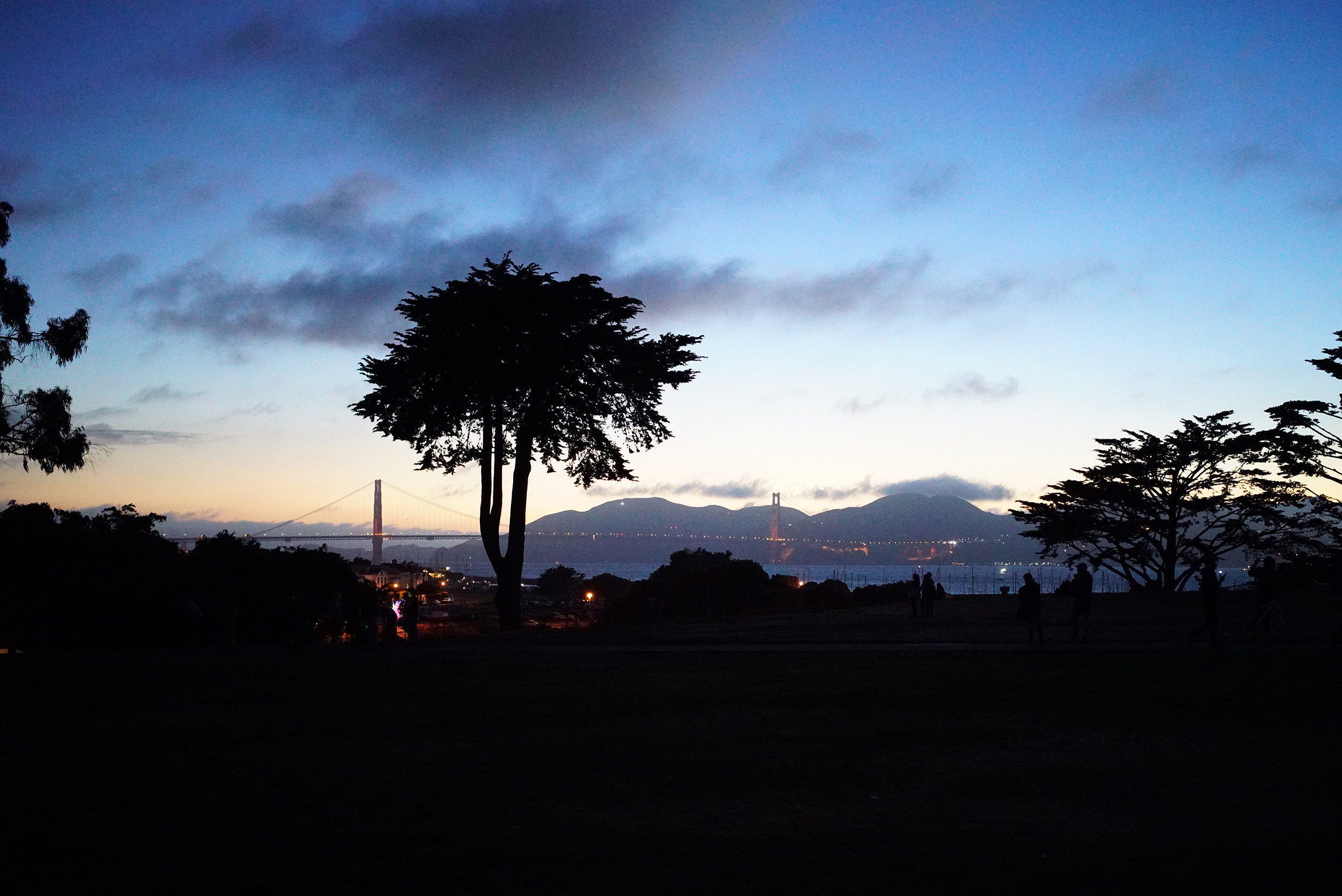 The evening sky over Golden Gate Bridge, our lovely view from Fort Mason.