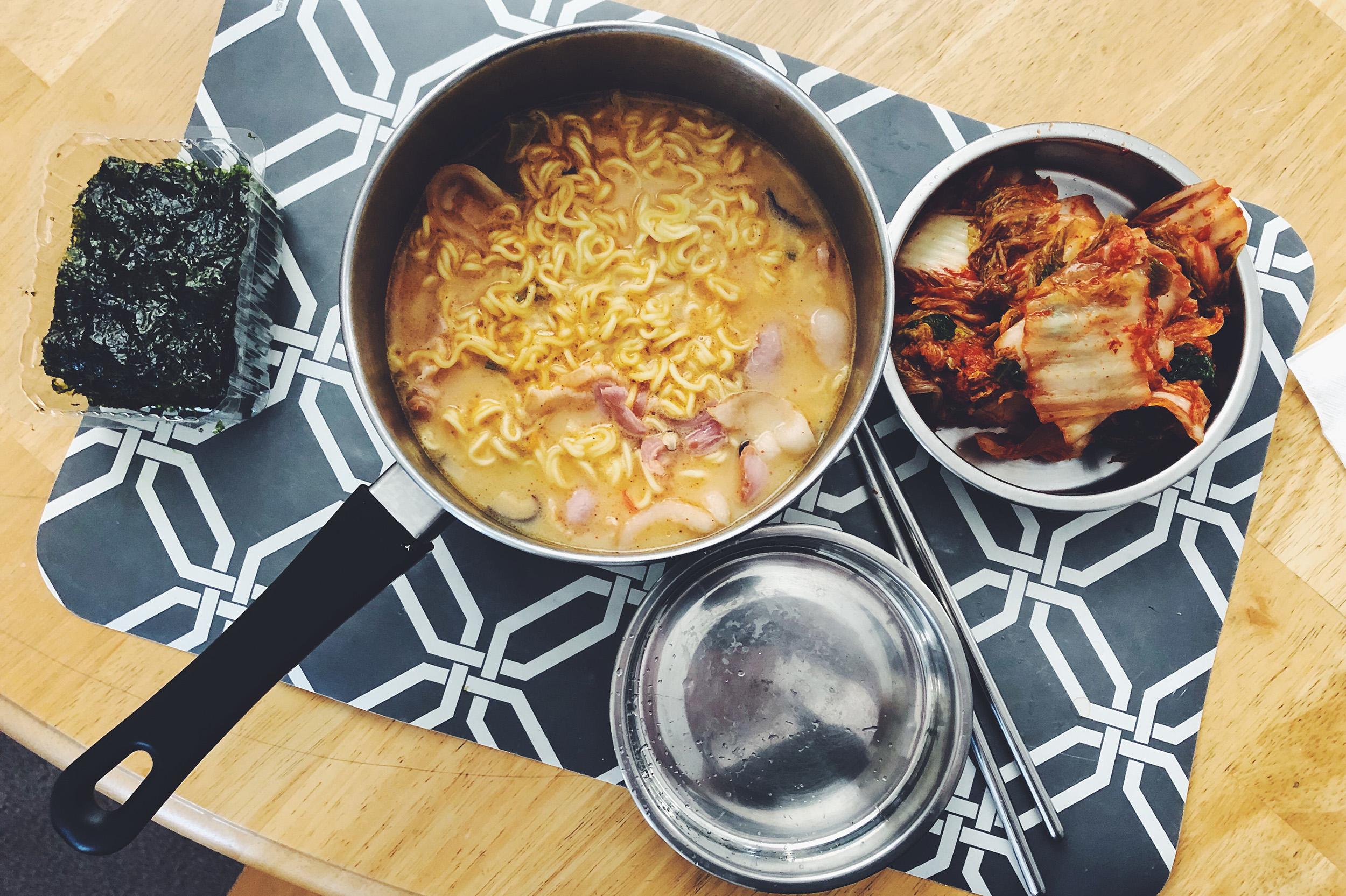 Ramen, kimchi, and seaweed: the lunch of champions.