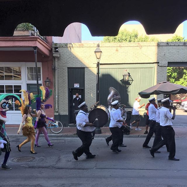 Gotta love this place...need a parade?  Got a parade! #neworleans #neworleansmusic #neworleansparade #louisiana #parade #princecontihotel