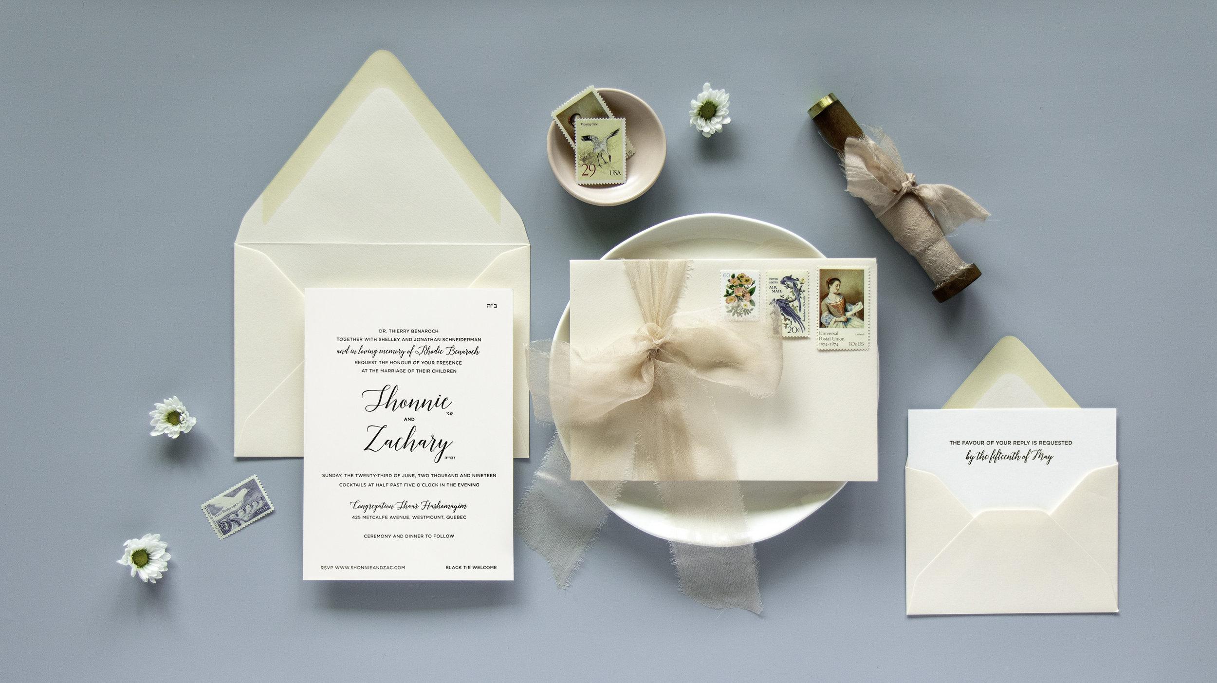 Traditional timeless Jewish wedding invitations