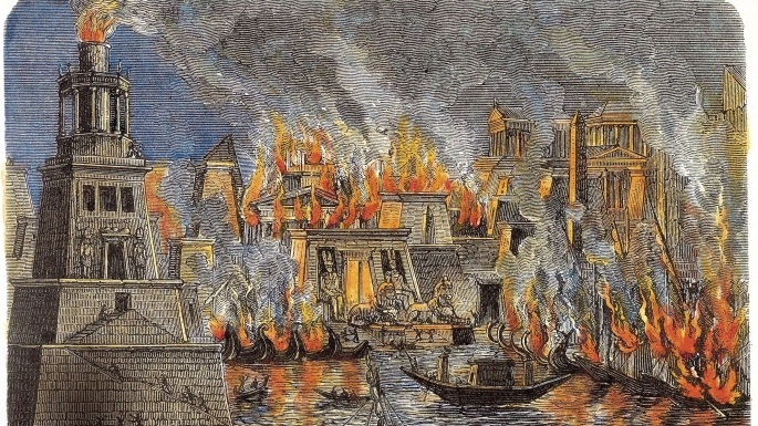 The Burning of the Library of Alexandria in 48 BC