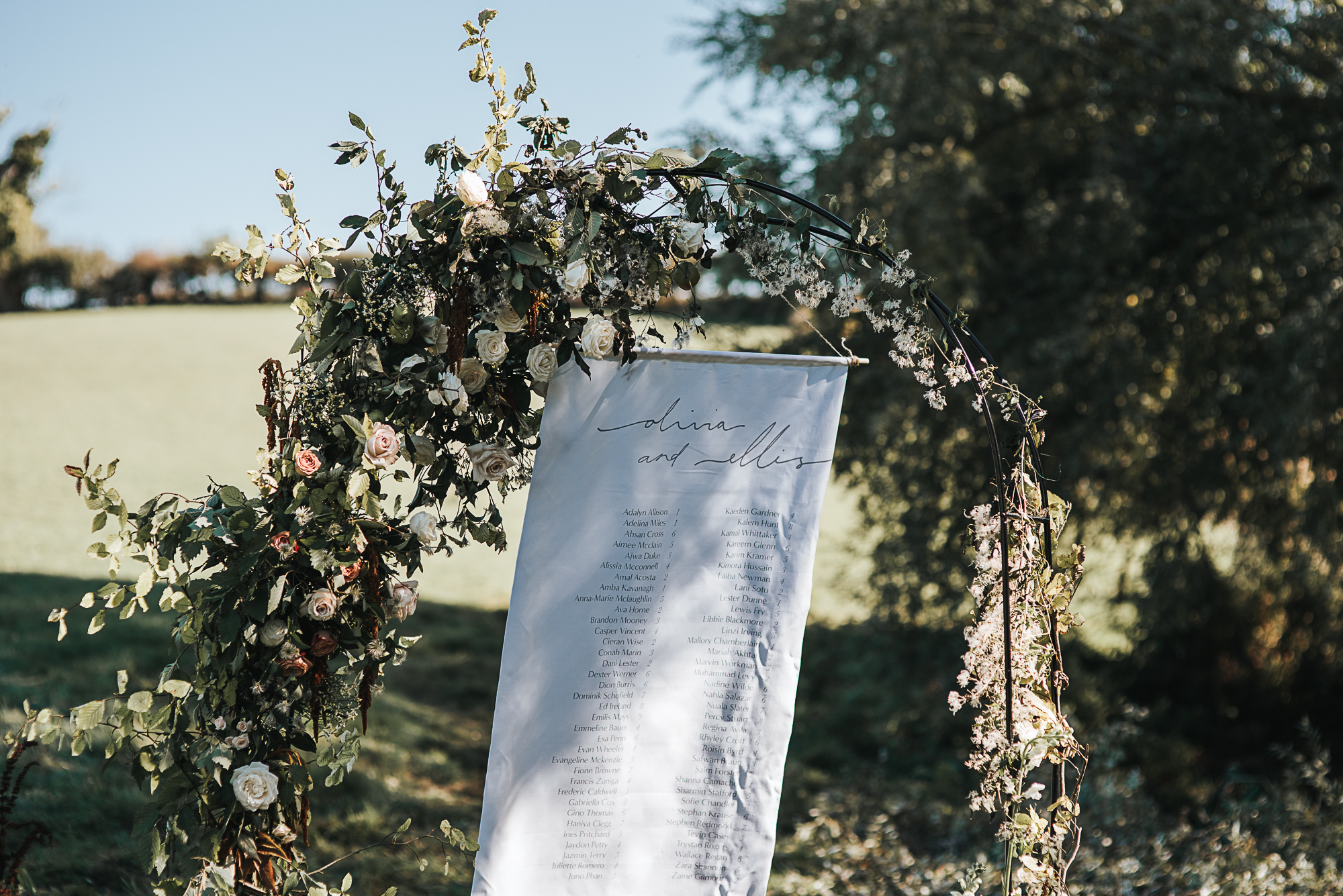 Table plan with floral arch