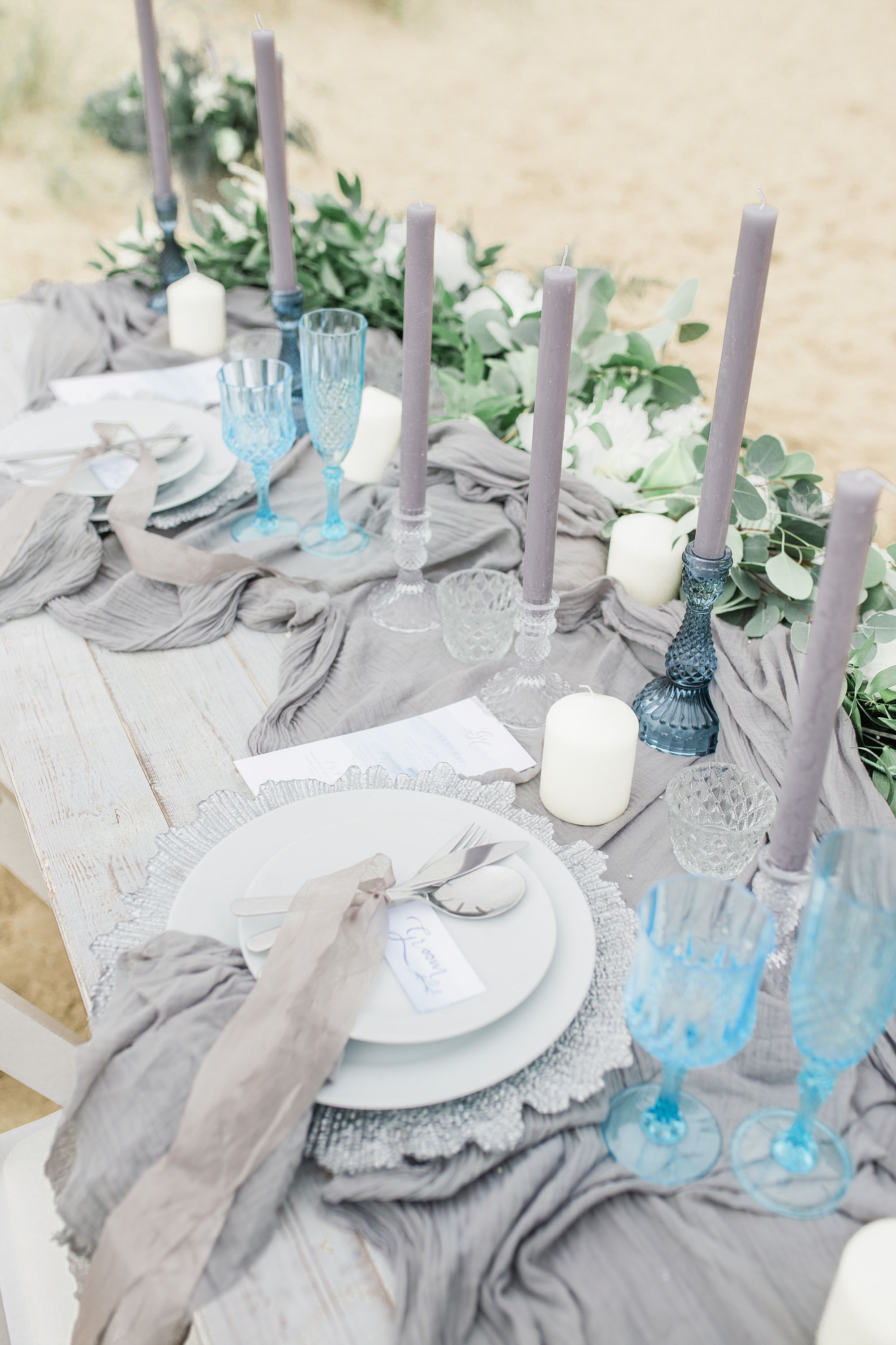 Ethereal tablescape for a beach wedding shoot
