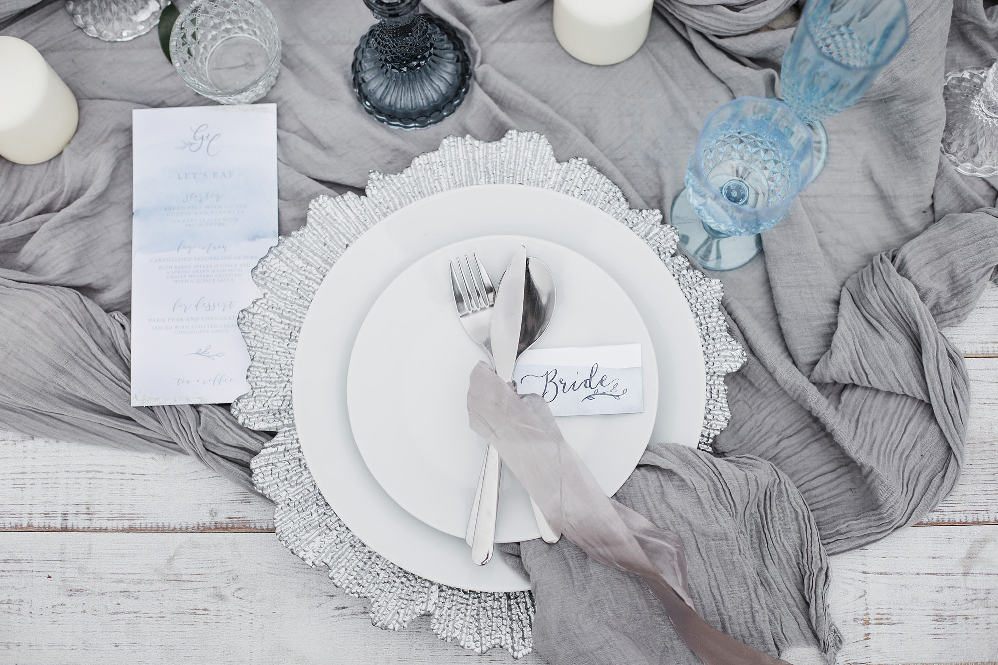 Tablescape from an Ethereal Beach Styled Shoot