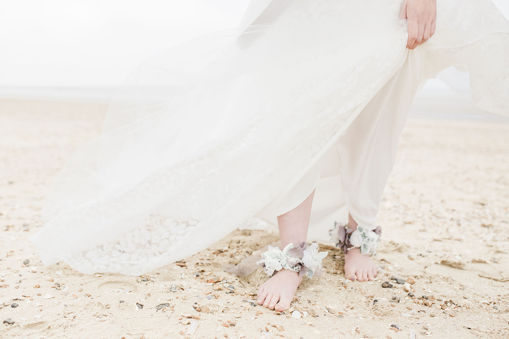 Floral anklets from an ethereal beach styled shoot