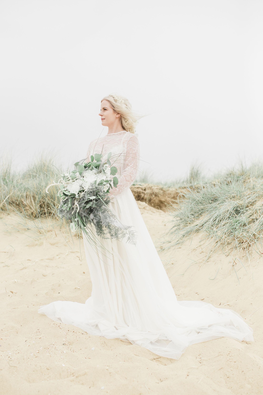 Ethereal bride on a wedding beach shoot