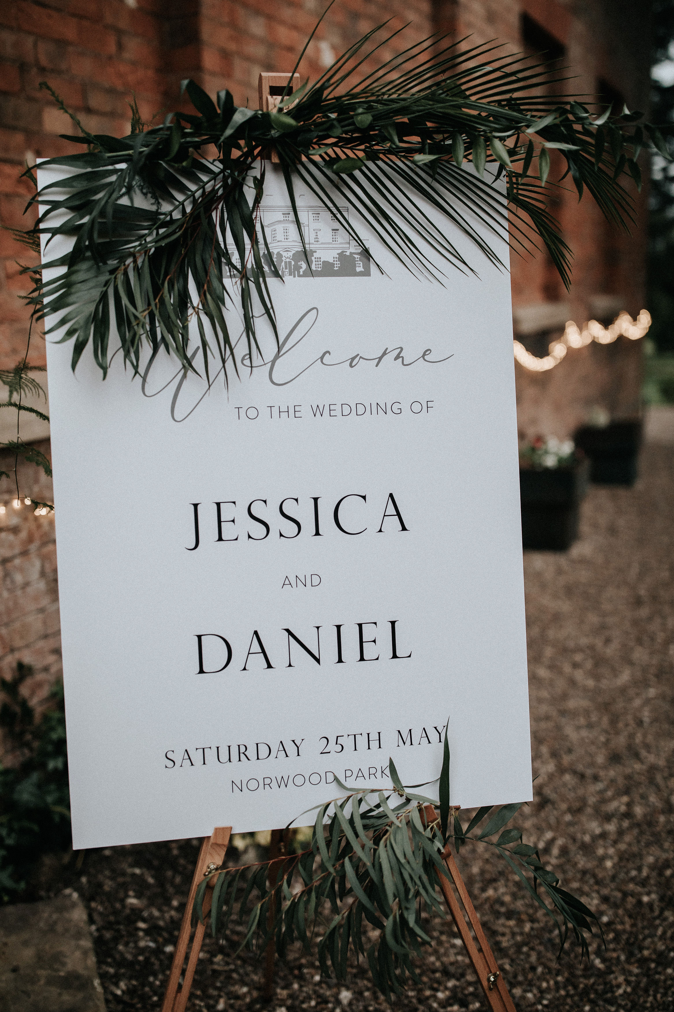 Jess and Dan wedding welcome sign