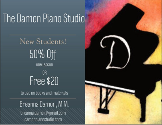 Currently I am offering a new student discount! New students receive either 50% off one lesson or free $20 to use on books and materials.  Are you a current student? Refer a friend and you BOTH will receive this offer!