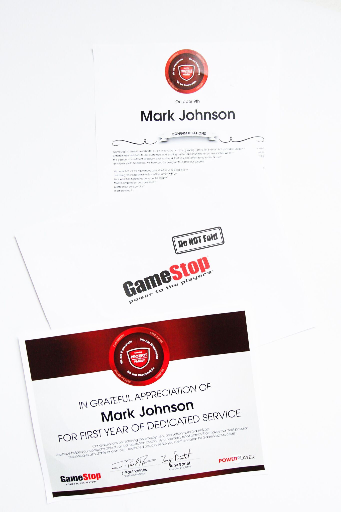 GameStop Power Players Certificates and Letters