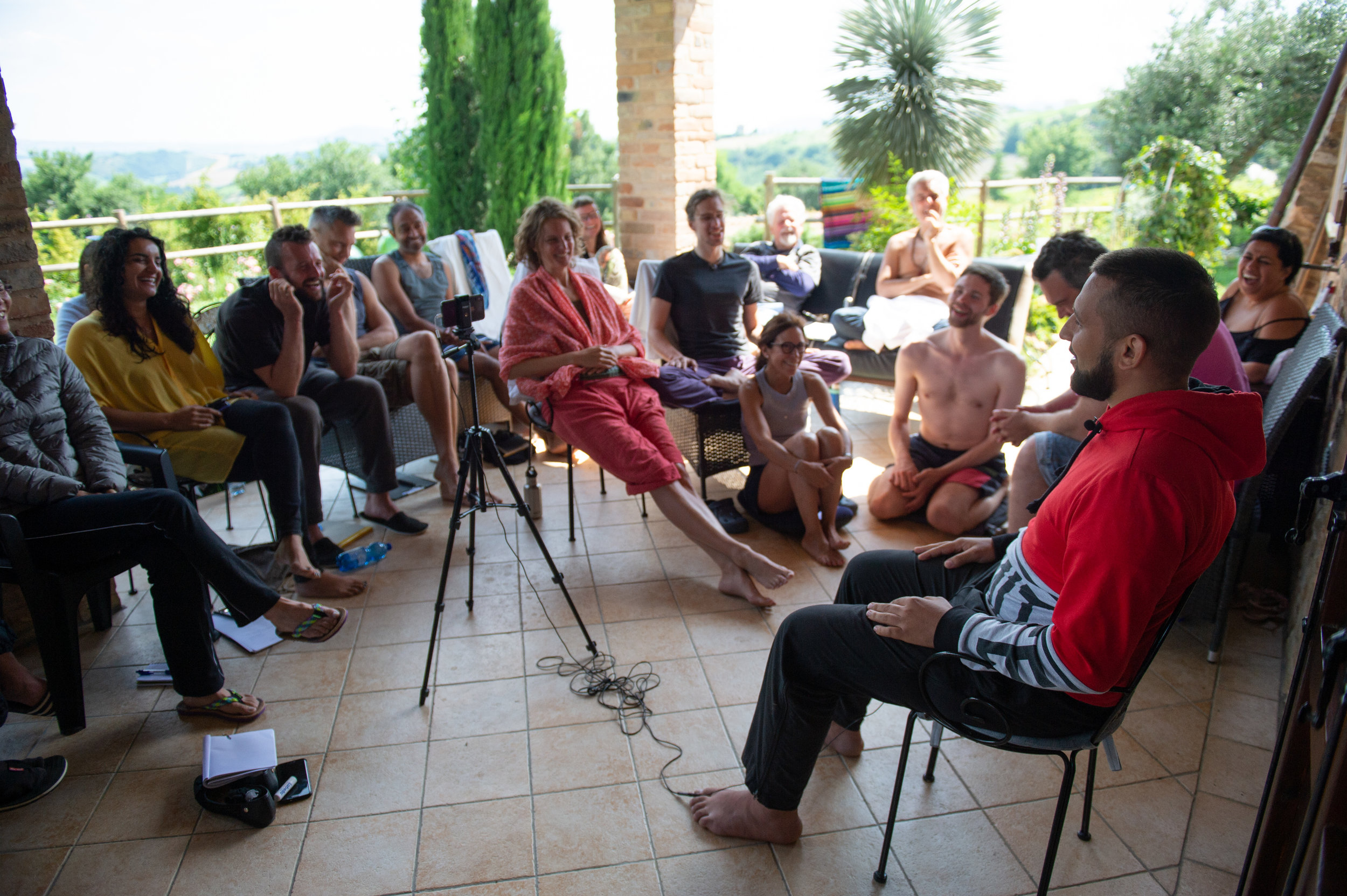 Evening - After dinner, we meet to hear two life stories. Each person is given one hour to tell the story of their life. The next morning the group discusses the stories and gives feedback. Each person will receive a video of their story.