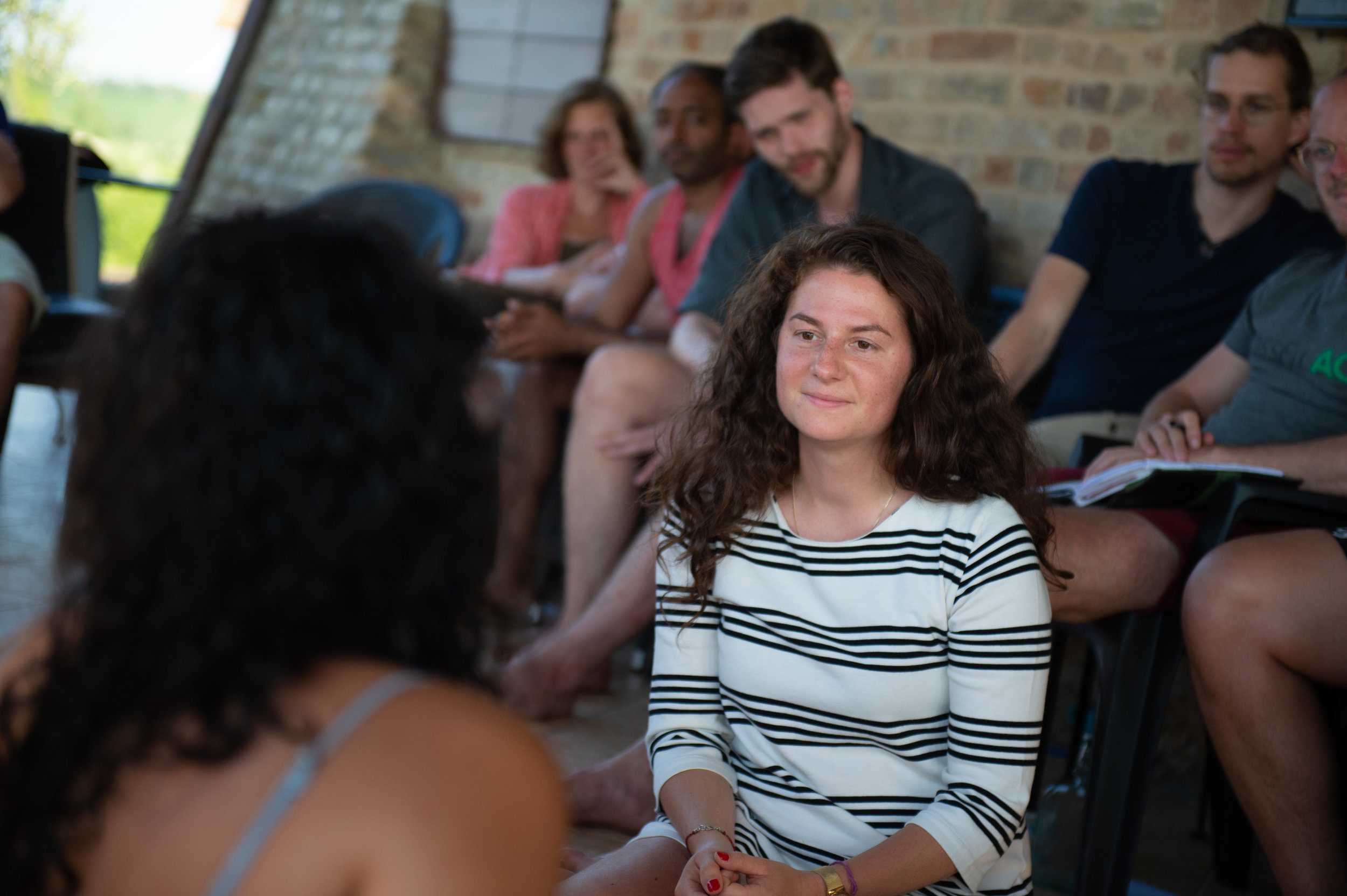 Friday: Warming Up - We gather and introduce ourselves, share how we're making ourselves nervous and excited about the weekend, and what we want to get out of it. We do some paired exercises, experimenting with Radical Honesty.