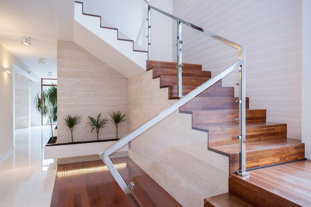 modern railings with wood stairs