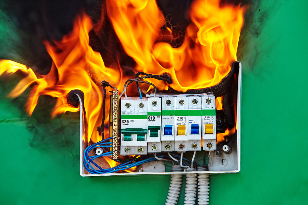 electrical panel box on fire