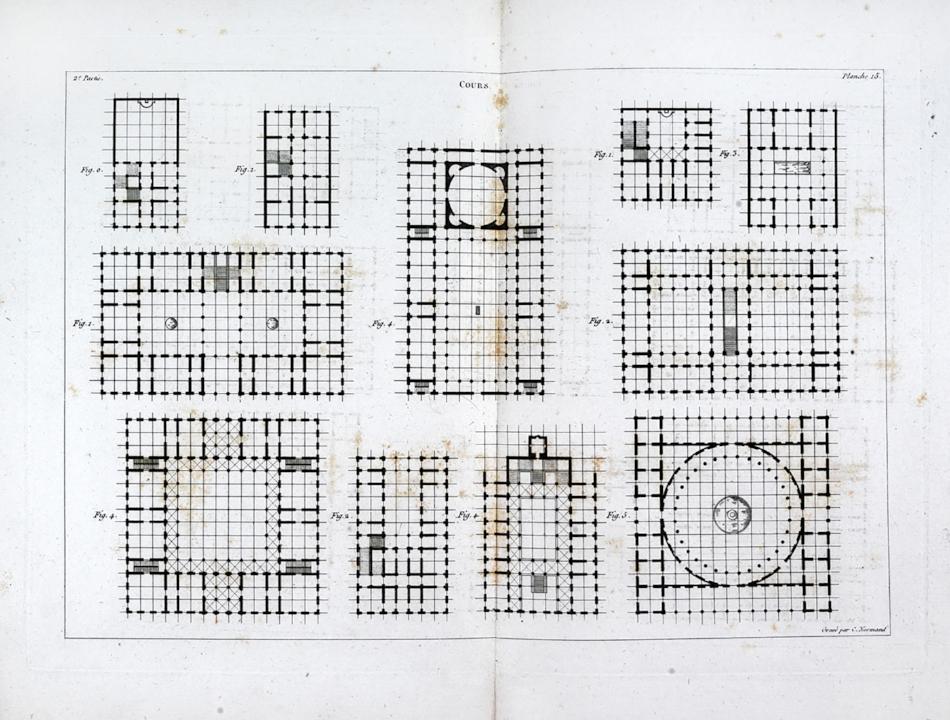 Figure 4:  Jean-Nicolas Louis Durand, Plate from   Recueil et parallèle des édifices de tout genre anciens et modernes (1800).