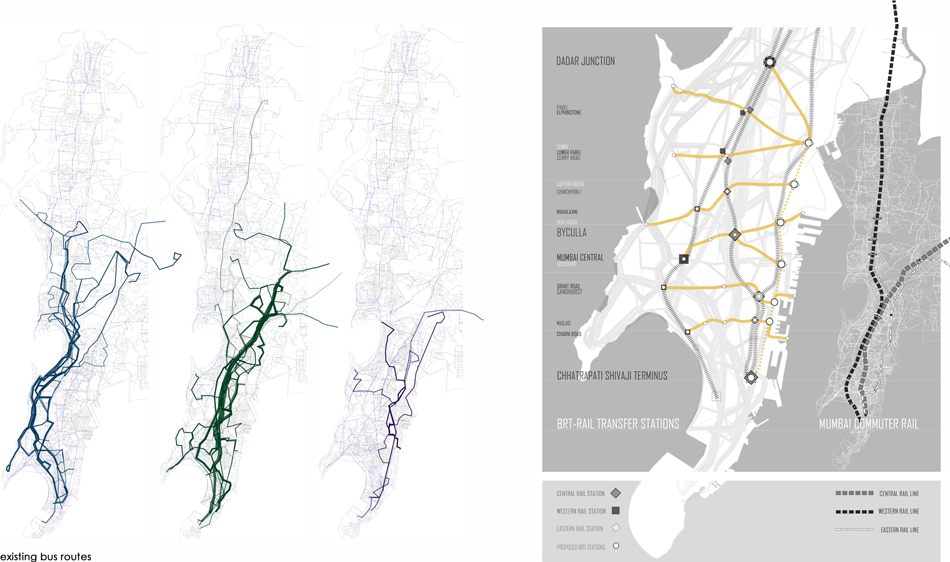 Existing Bus and Train Network (left) / Proposed East/West RBT System (right).