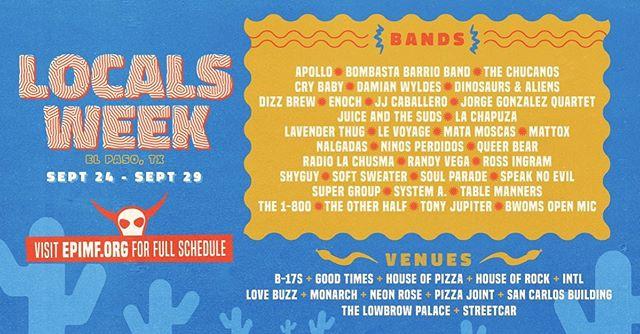 @elpasoimf & @hellofusionmag PRESENTS: Locals Week! Friday September 27th! It's gunna be good one! at @neonrose2430 . . . .  #NeonRoseBar #showsatNeonRose #ElPasoMusicScene #IndieRock #Metal #PunkRock #itsallgoodEP #ChicosTacos #ElPaso #NeonRose #unsignedartists #MusicVenue #DiveBar #Cocktails #Beer #Texas #Juarez #LiveMusic #EDM #VinylRecords #GraphicDesign