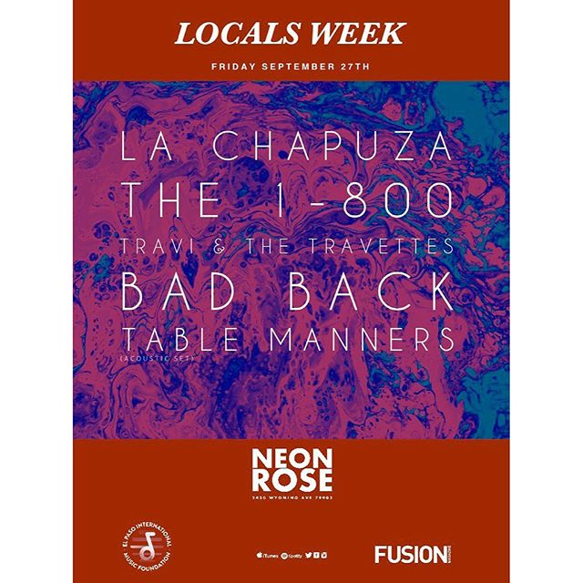 Playing a very special set next Friday the 27th at @neonrose2430 with our friends from @traviandthetravettes, @la_chapuza_tx, @the1_800, and @bad.back.eptx | 9pm | No Cover | Presented By: @elpasoimf & @hellofusionmag . . . . . . . . #postpunk #postrock #indie #indierock #rockandroll #emo #emorock #dadbodsquad #elpasomusicscene #graphicdesign #graphicdesigner #ライブ音楽 #recordingartist #elpasomusicscene #tablemannerseptx #tablemanners #elpasomusicscene