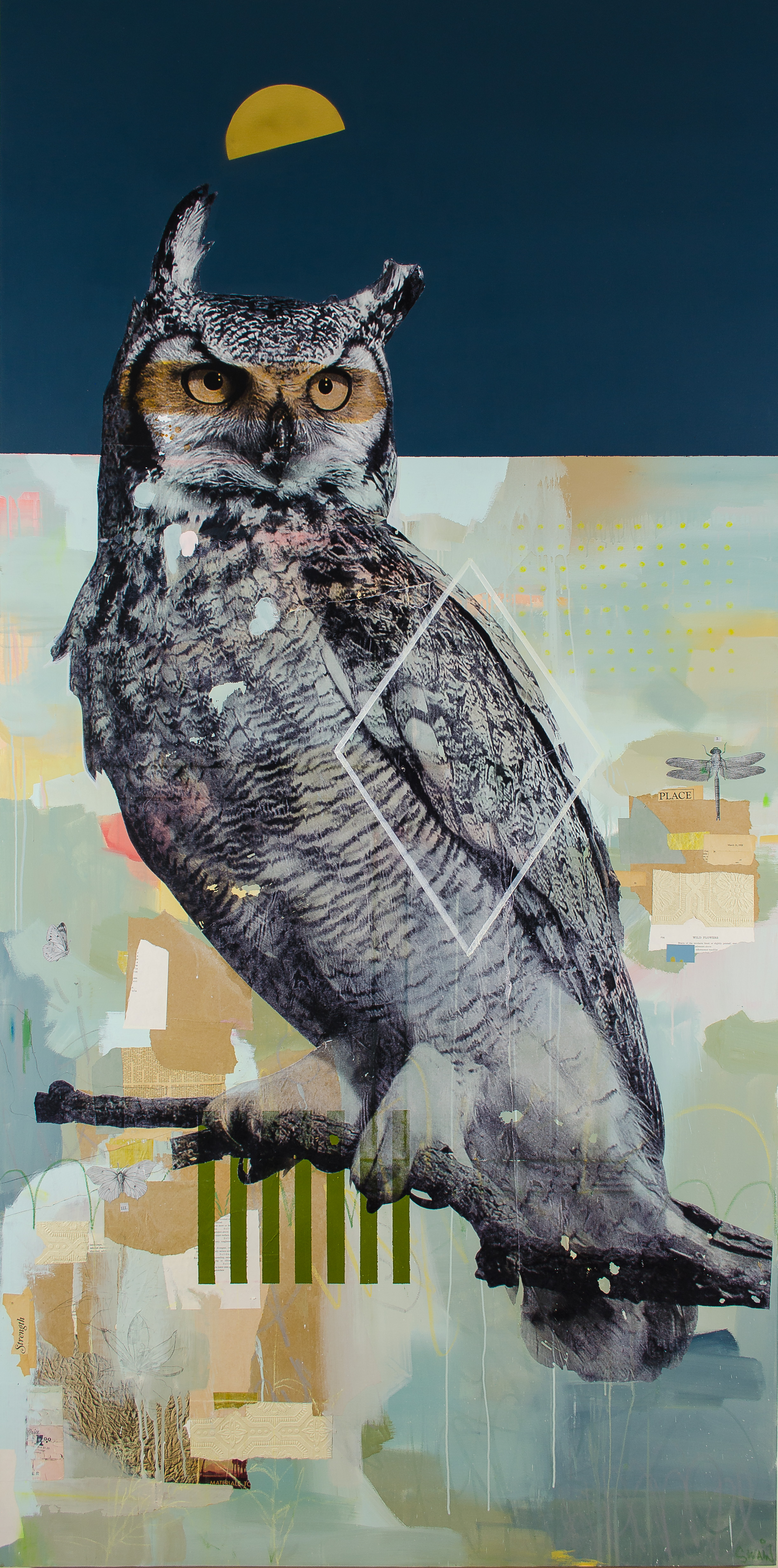 "Medicine of Great Horned Owl,  48`x 96"", Mixed Media on Canvas, 2018"