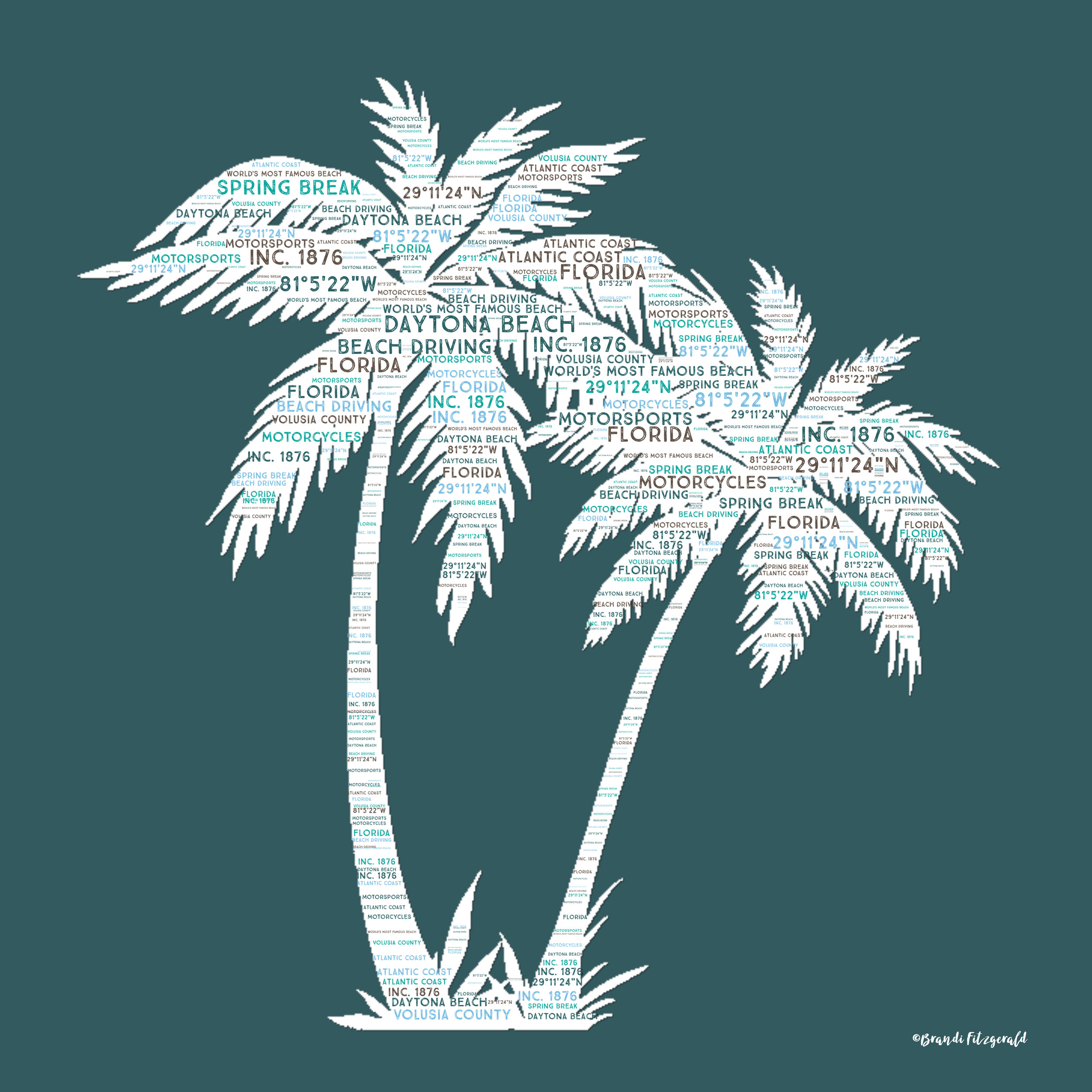 Palm Trees on Teal