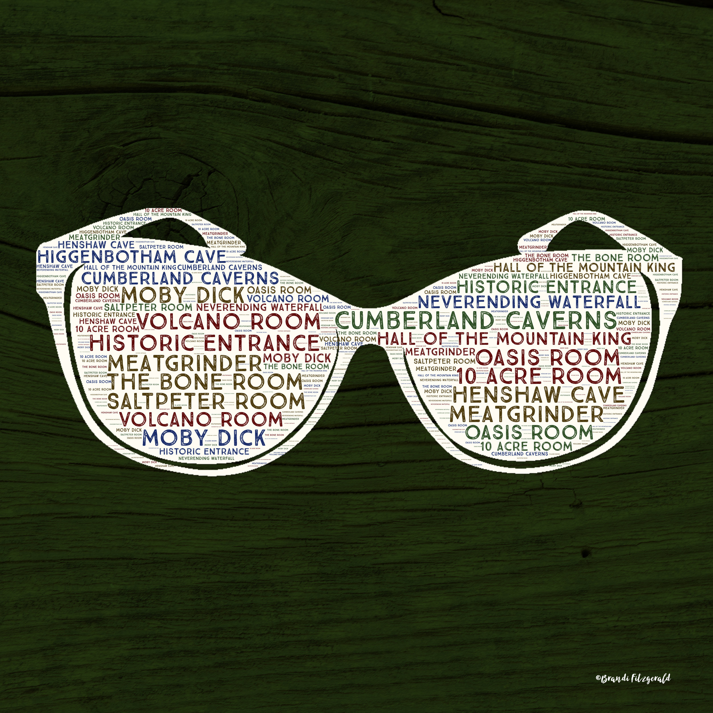 Sunglasses on Dark Green Wood