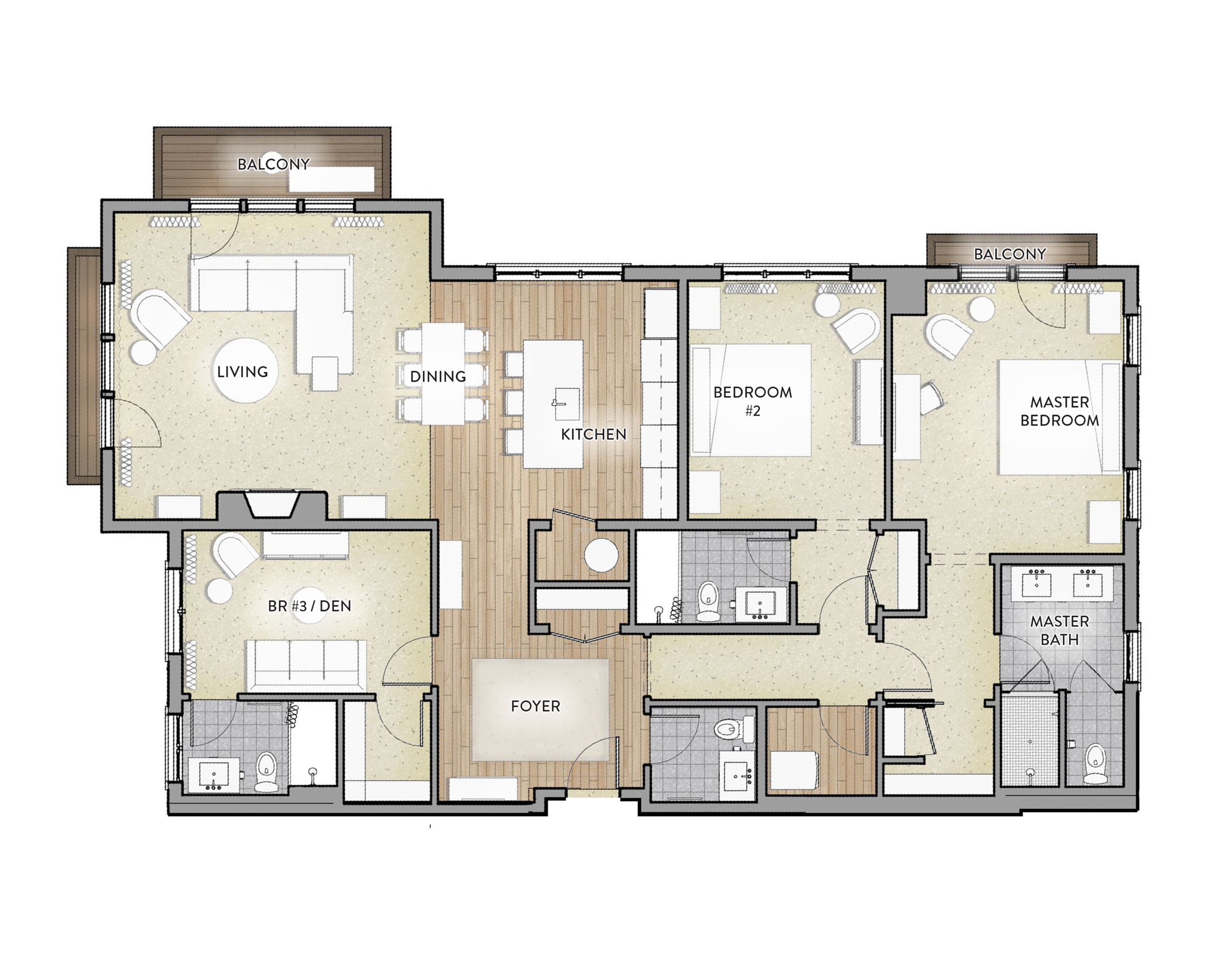 Type A - 3 Bed / 3.5 BathArea: 1795 SF(Paint to Paint)Residences:234, 334,4341 Balcony-