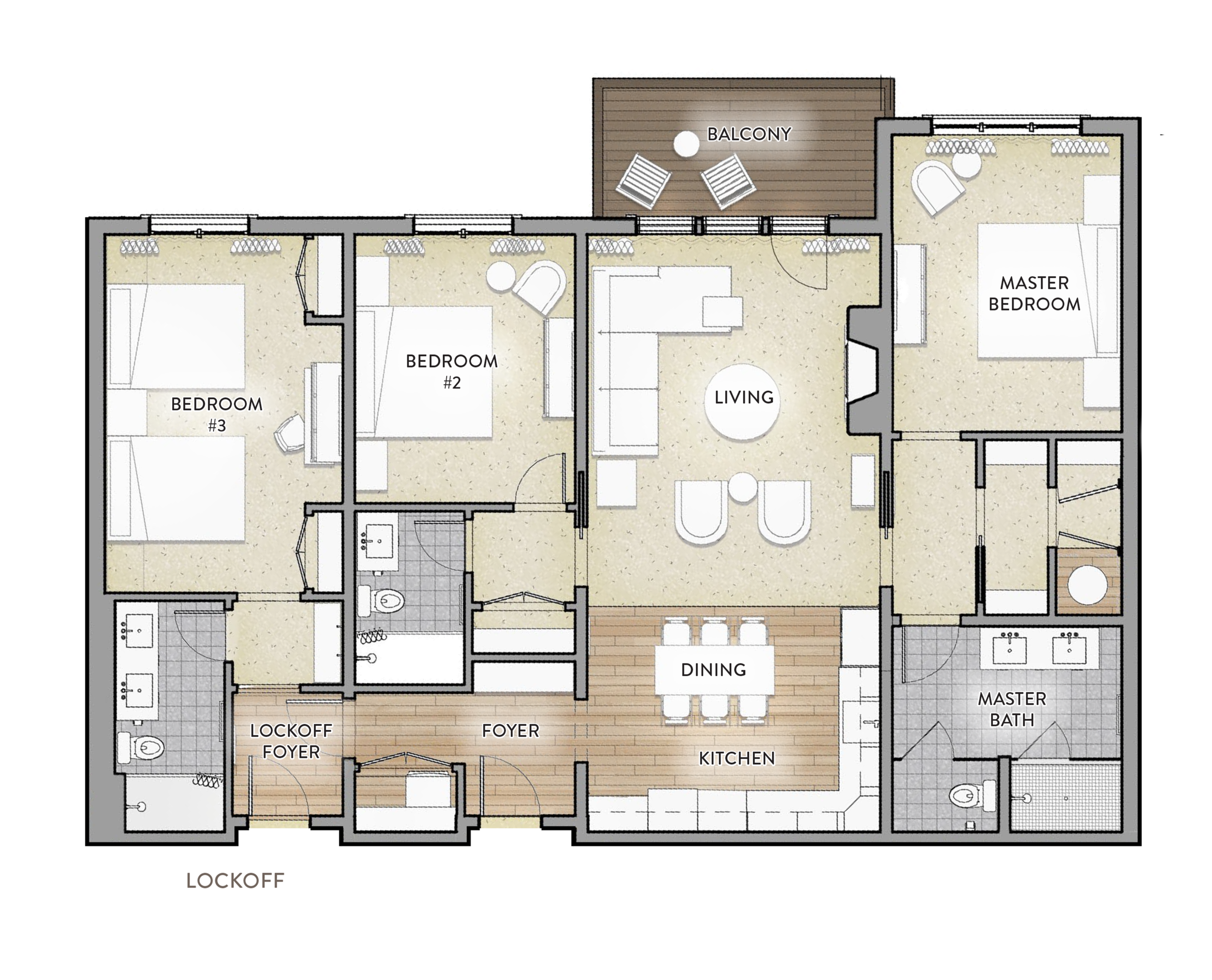 Type B - 3 bed / 3 bathArea: 1578 SF(Paint to Paint)Residences:135, 235, 335, 4351 BalconyLockoff