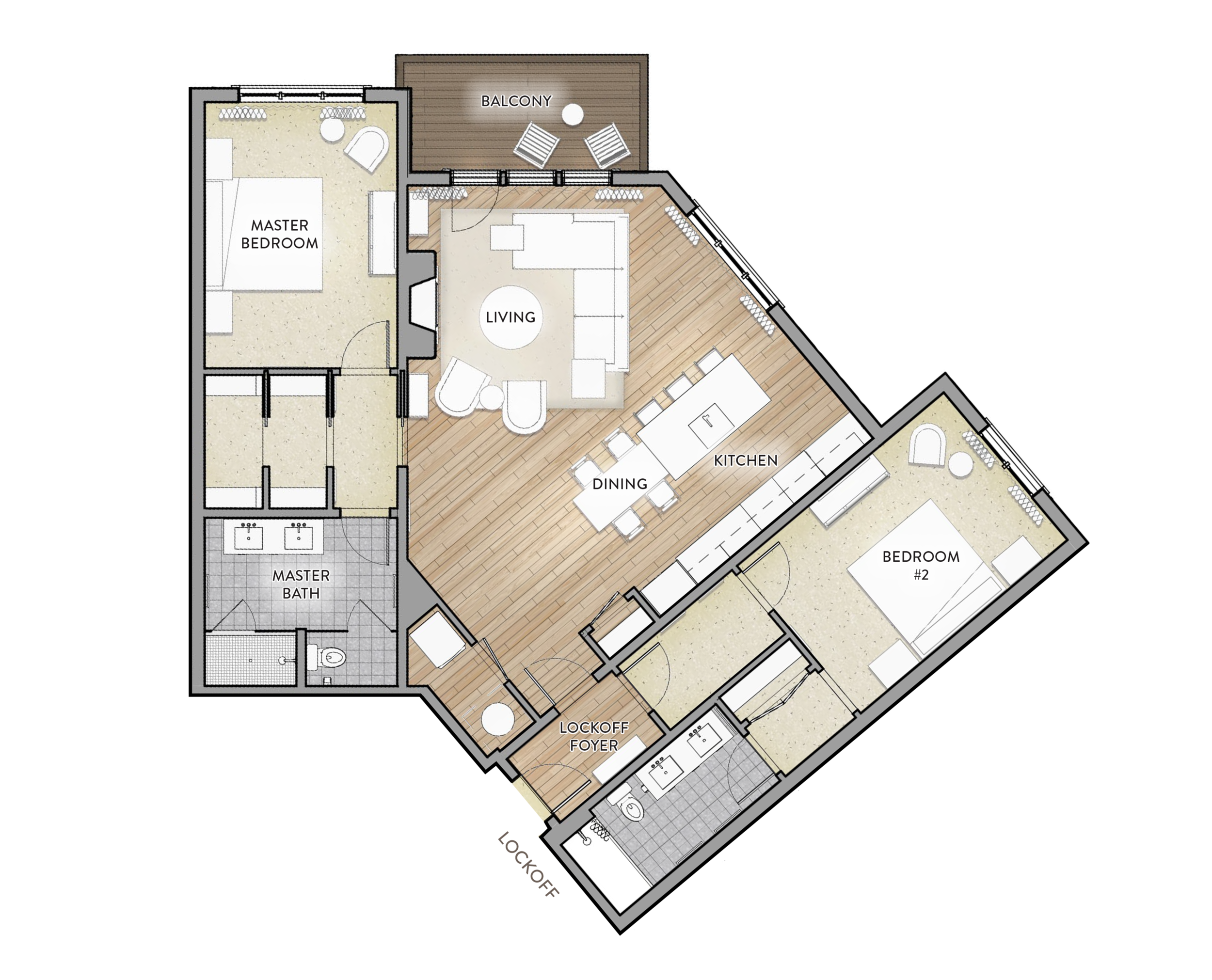 Type C - 2 Bed / 2 BathArea: 1468 SF(Paint to Paint)Residences:137, 237, 337, 4371 BalconyLockOff