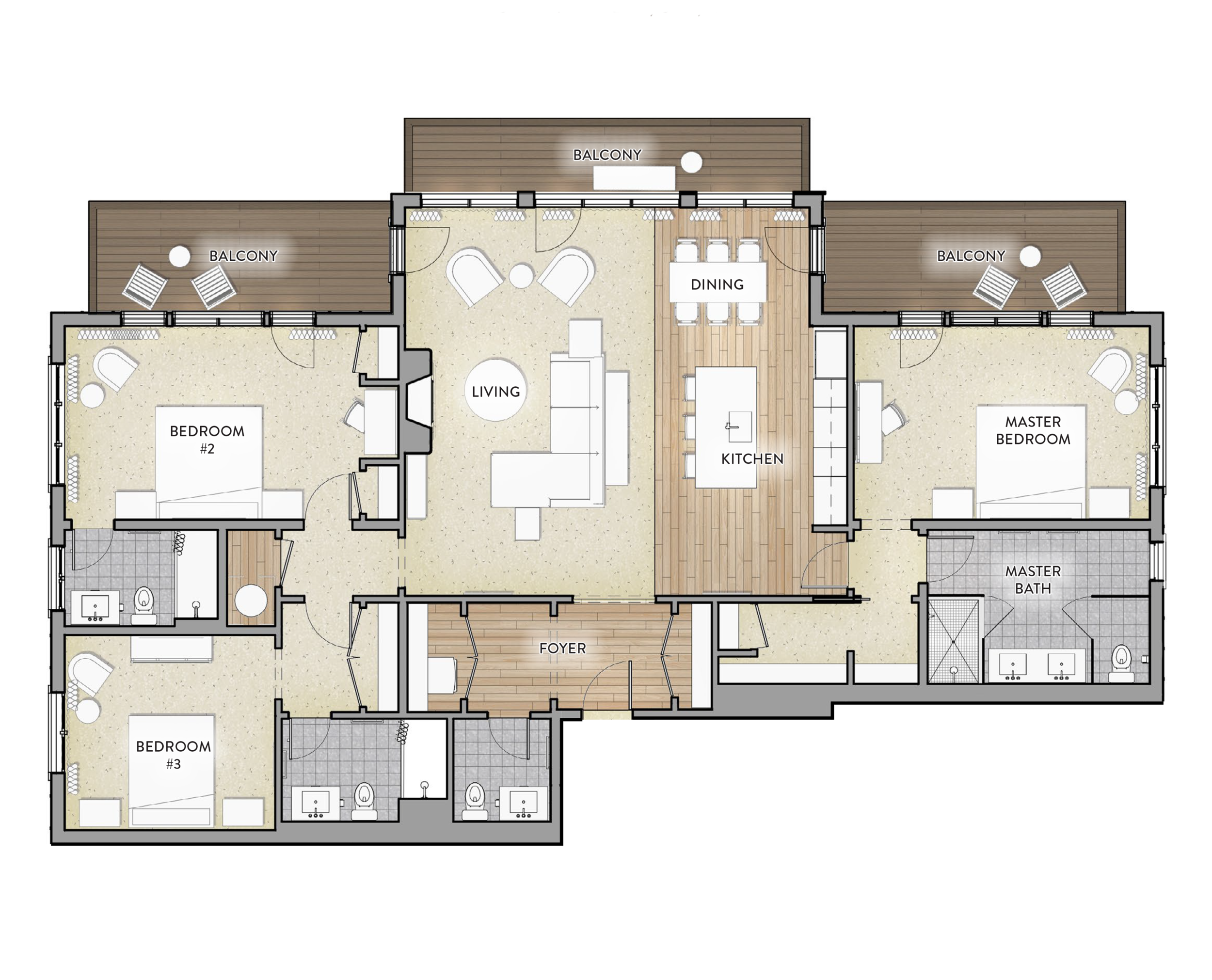 Type E - 3 bed / 3.5 BathArea: 1964 SF(Paint to Paint)Residences:240, 340, 4402 Balconies-