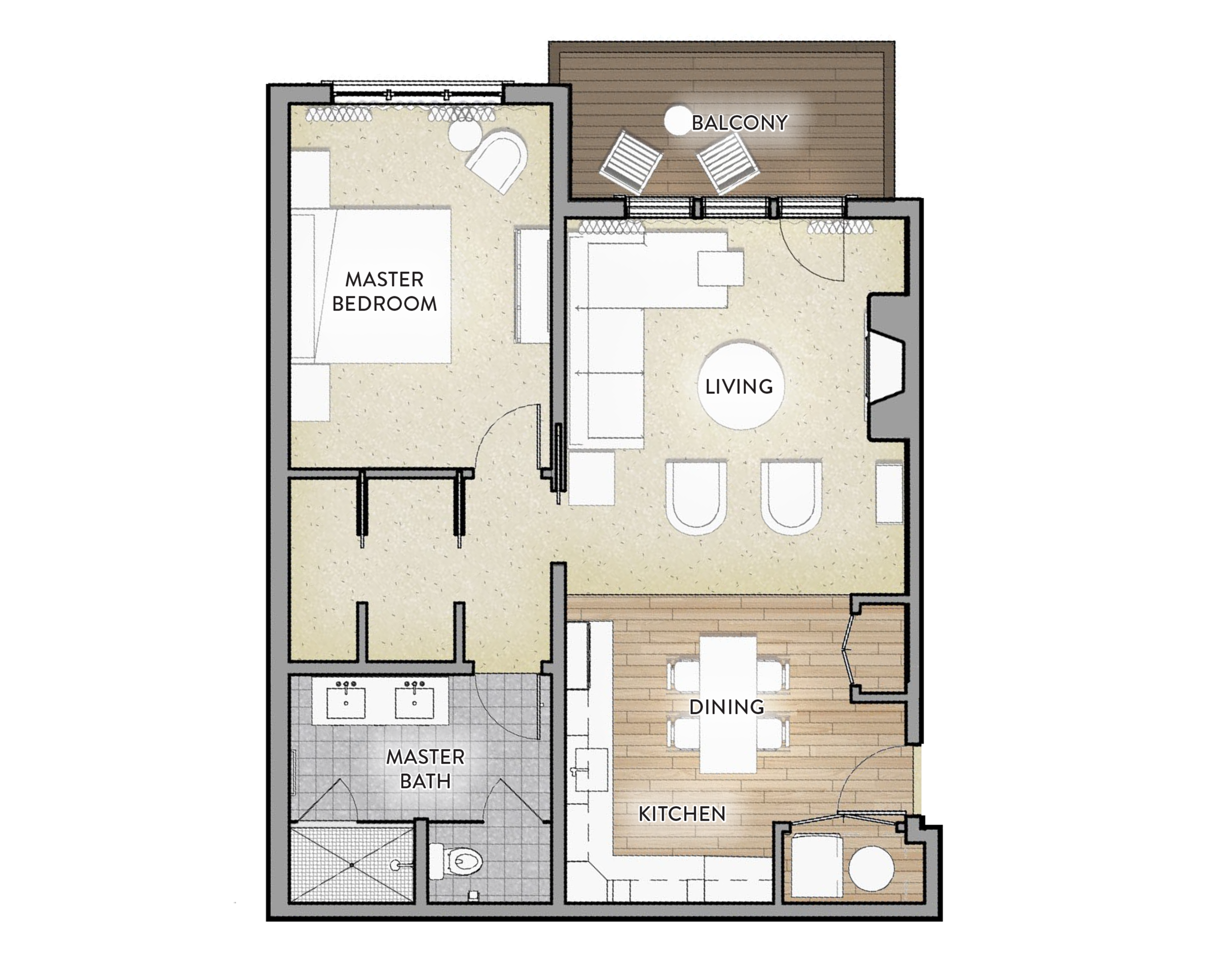 Type F - 1 beD / 1 BathArea: 869 SF(Paint to Paint)Residences:236, 336, 4361 Balcony-