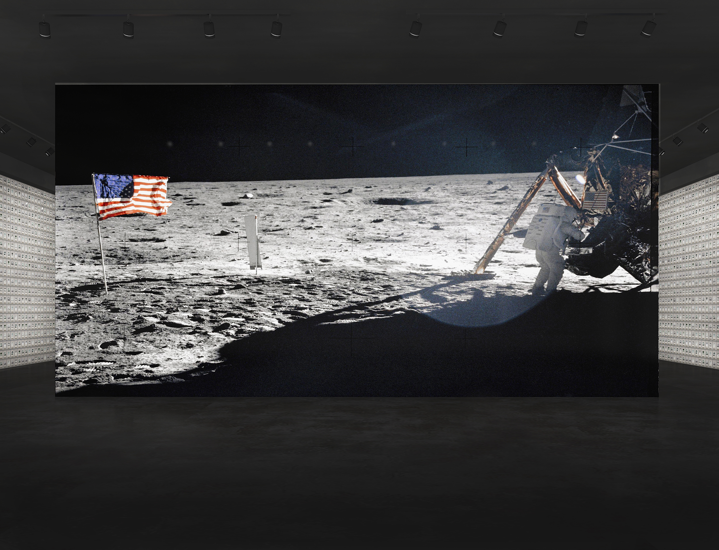 Walking into the Apollo 11 section of the the Heroes & Humans Exhibition you would first see the moon landing and hear the audio of the Apollo 11 crew thanking all the people who made the Apollo 11 mission possible.