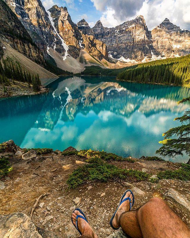 Sit back and enjoy the view! . . . . #explorealberta #tourismalberta #parkscanada #visitcanada #explorecanada #canadaday #enjoycanada #morainelake #banffnationalpark #visitbanff #explorebanff #pnwparks #pnwexplore #reflectiongram #blue #lake #rockymountainnationalpark